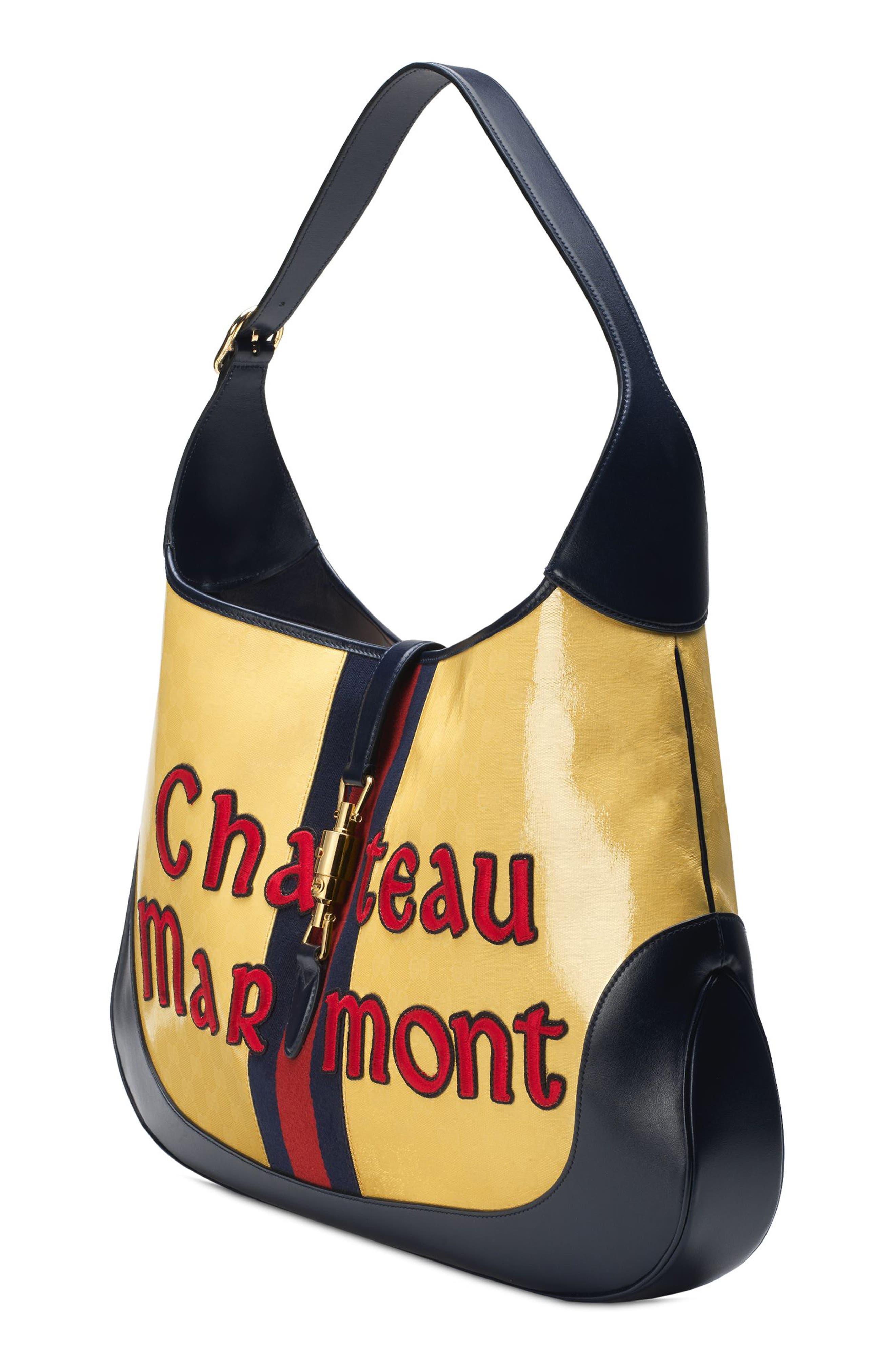Maxi Jackie Chateau Marmont GG Hobo,                             Alternate thumbnail 4, color,                             STRAW YELLOW/ BLU/ RED