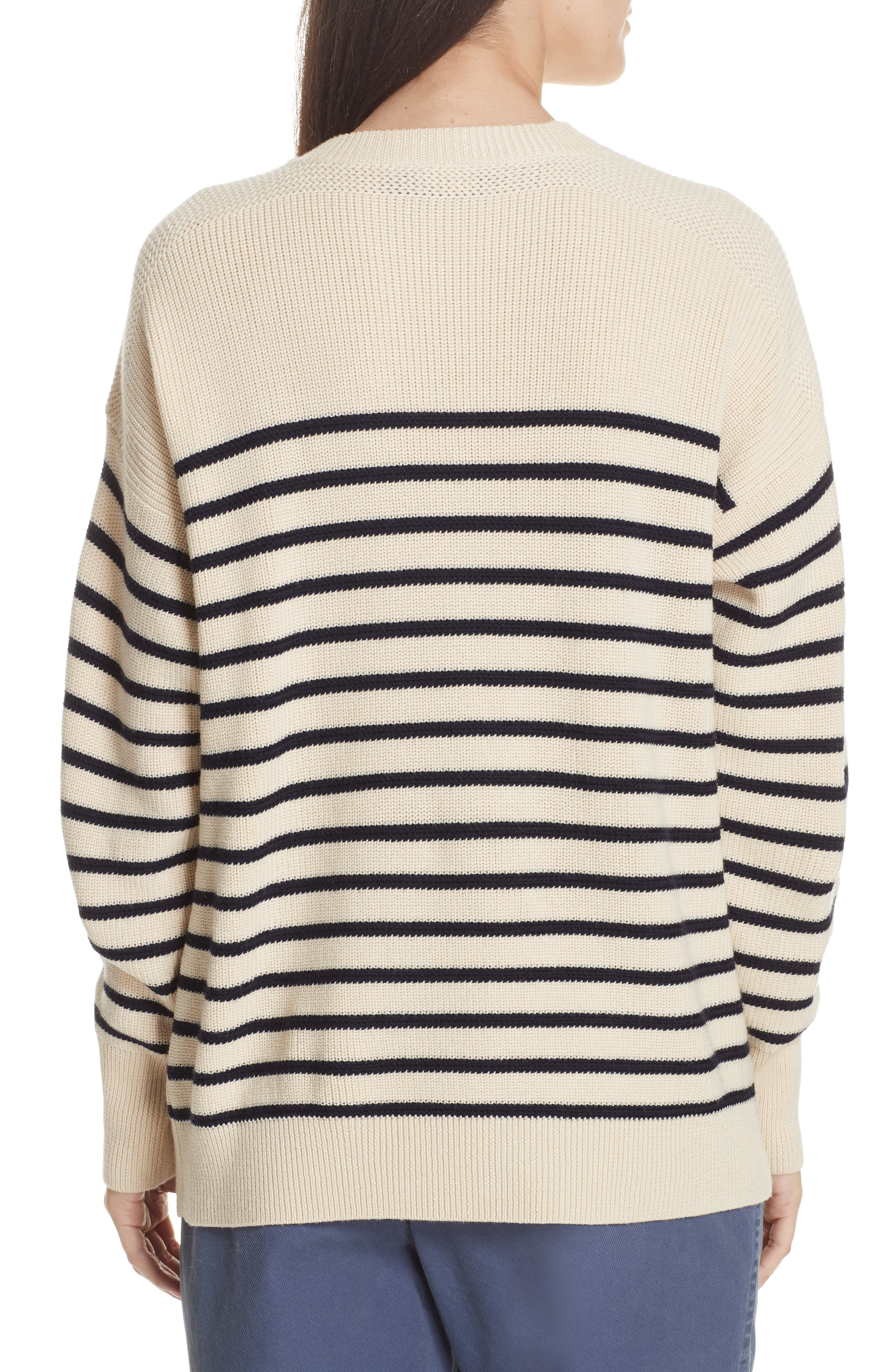Stripe Wool Sweater,                             Alternate thumbnail 3, color,                             CREAM/ NAVY