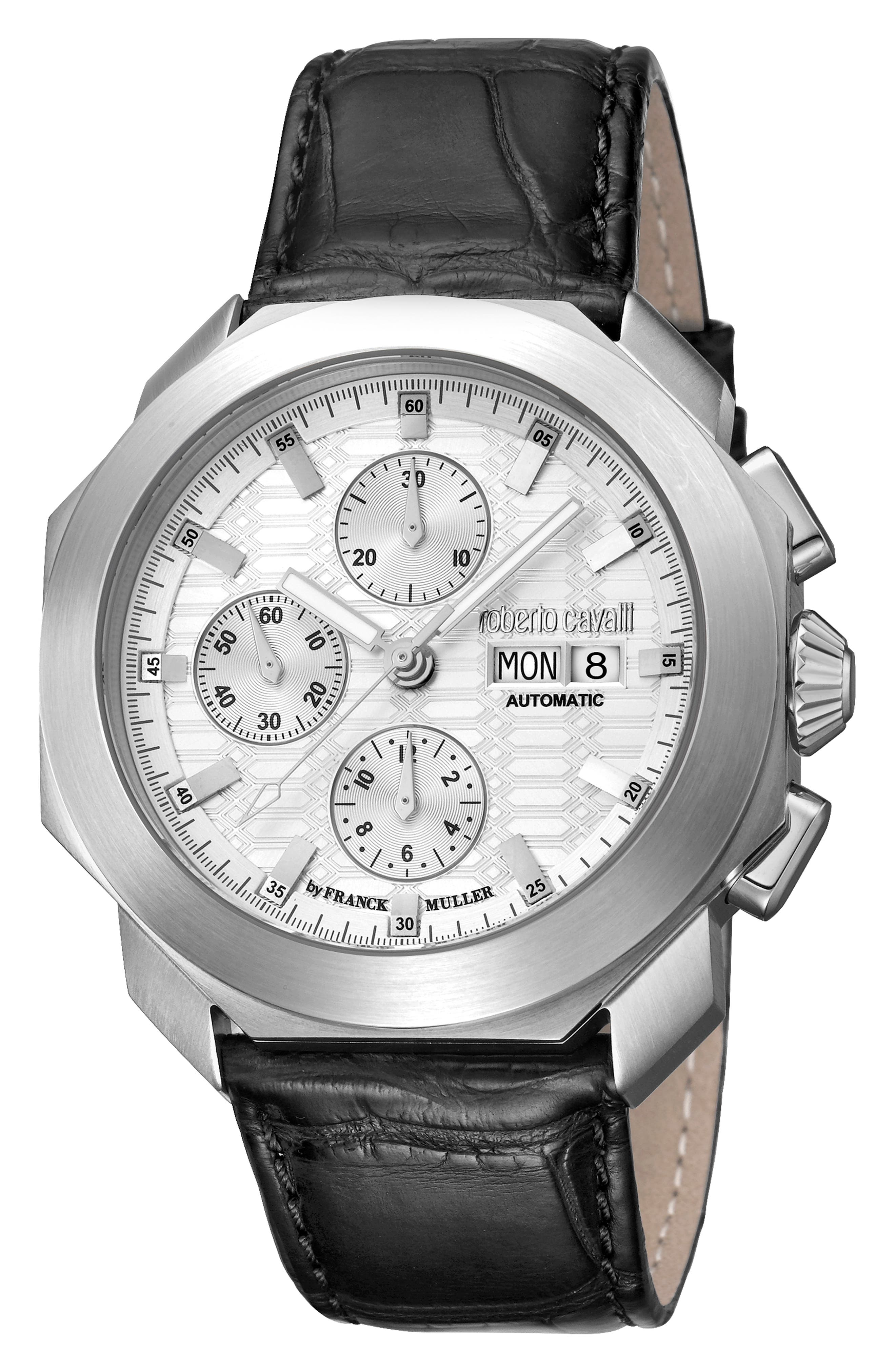 Sport Chronograph Leather Strap Watch,                         Main,                         color, BLACK/ SILVER