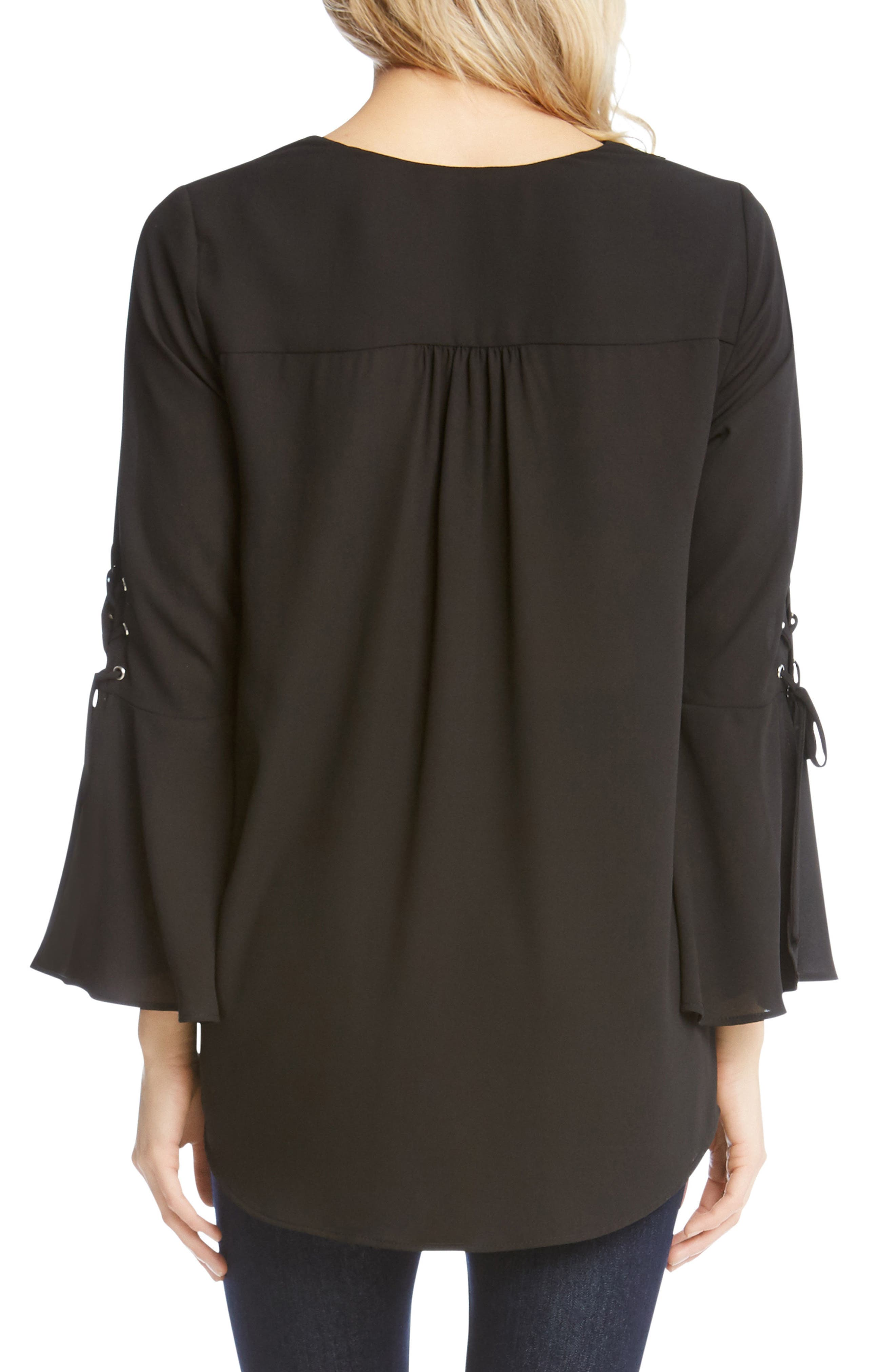 Split Front Tie-Sleeve Top,                             Alternate thumbnail 2, color,                             001