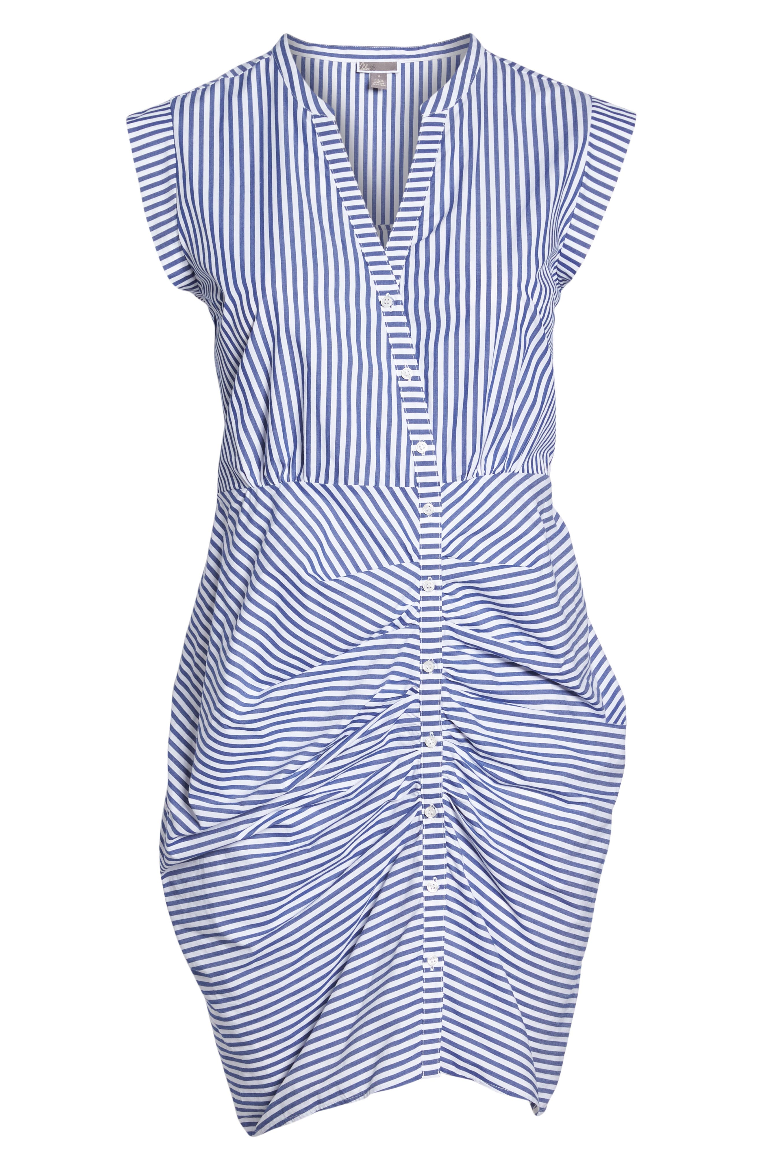 Stripe Ruched Cotton Shirtdress,                             Alternate thumbnail 13, color,                             400