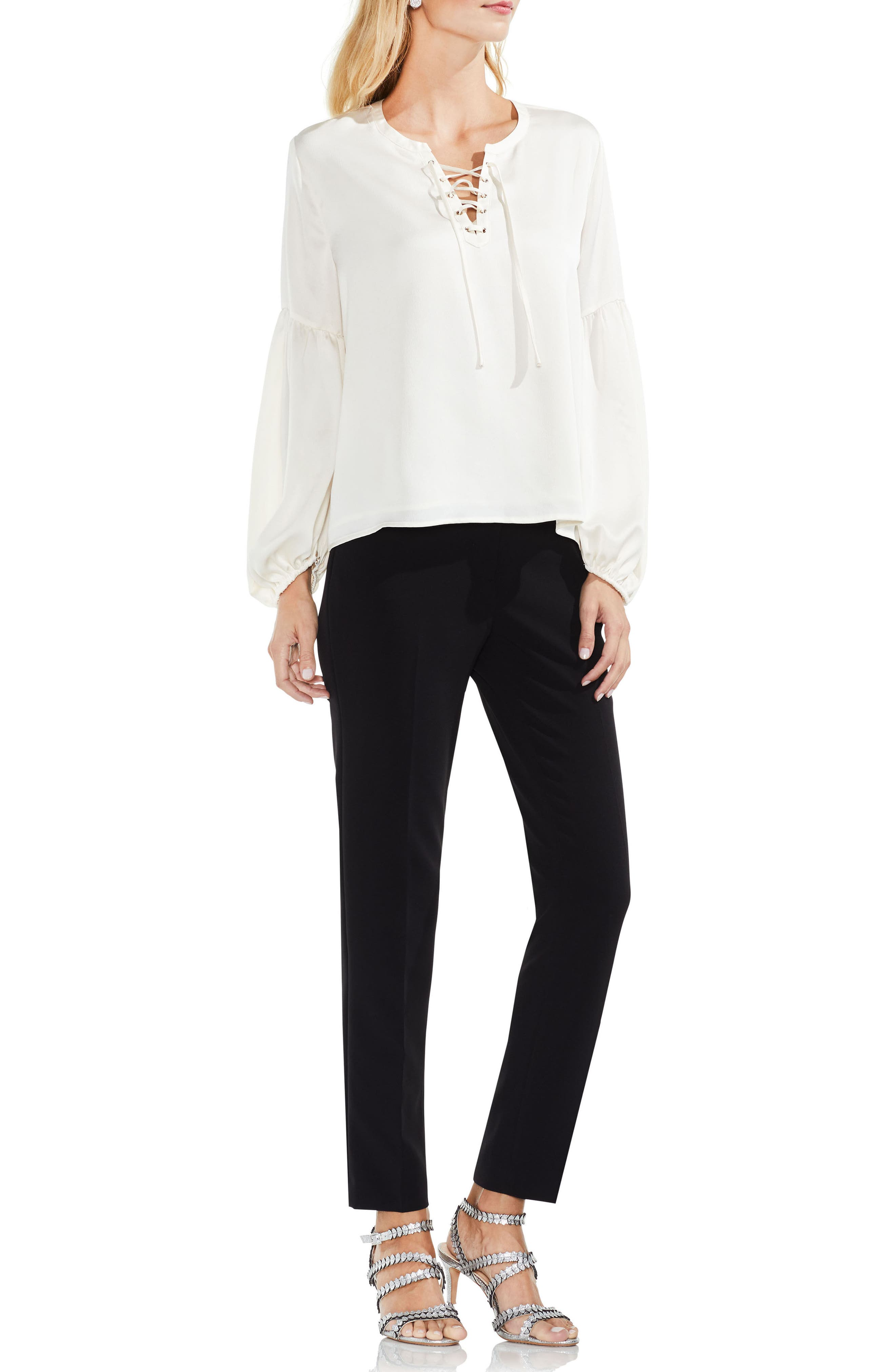 Lace-Up Hammered Satin Blouse,                             Alternate thumbnail 4, color,                             108