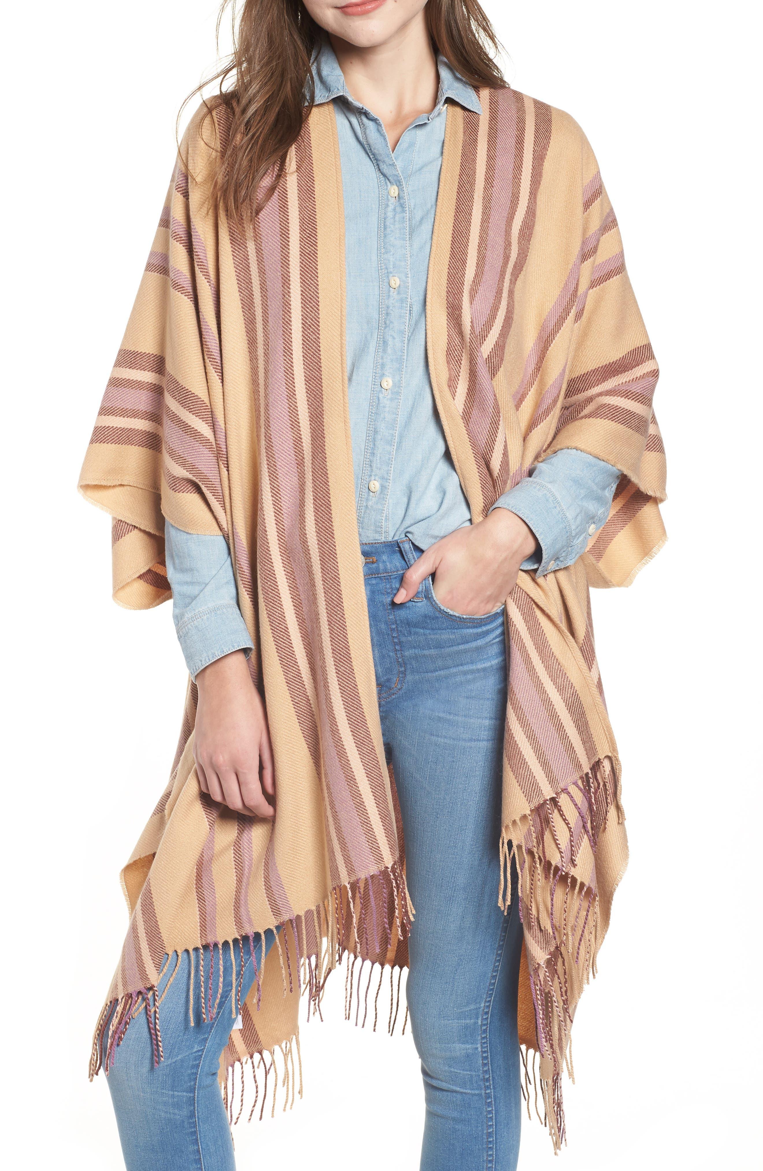 Placed Stripe Poncho Scarf,                         Main,                         color, DESERT CAMEL MULTI
