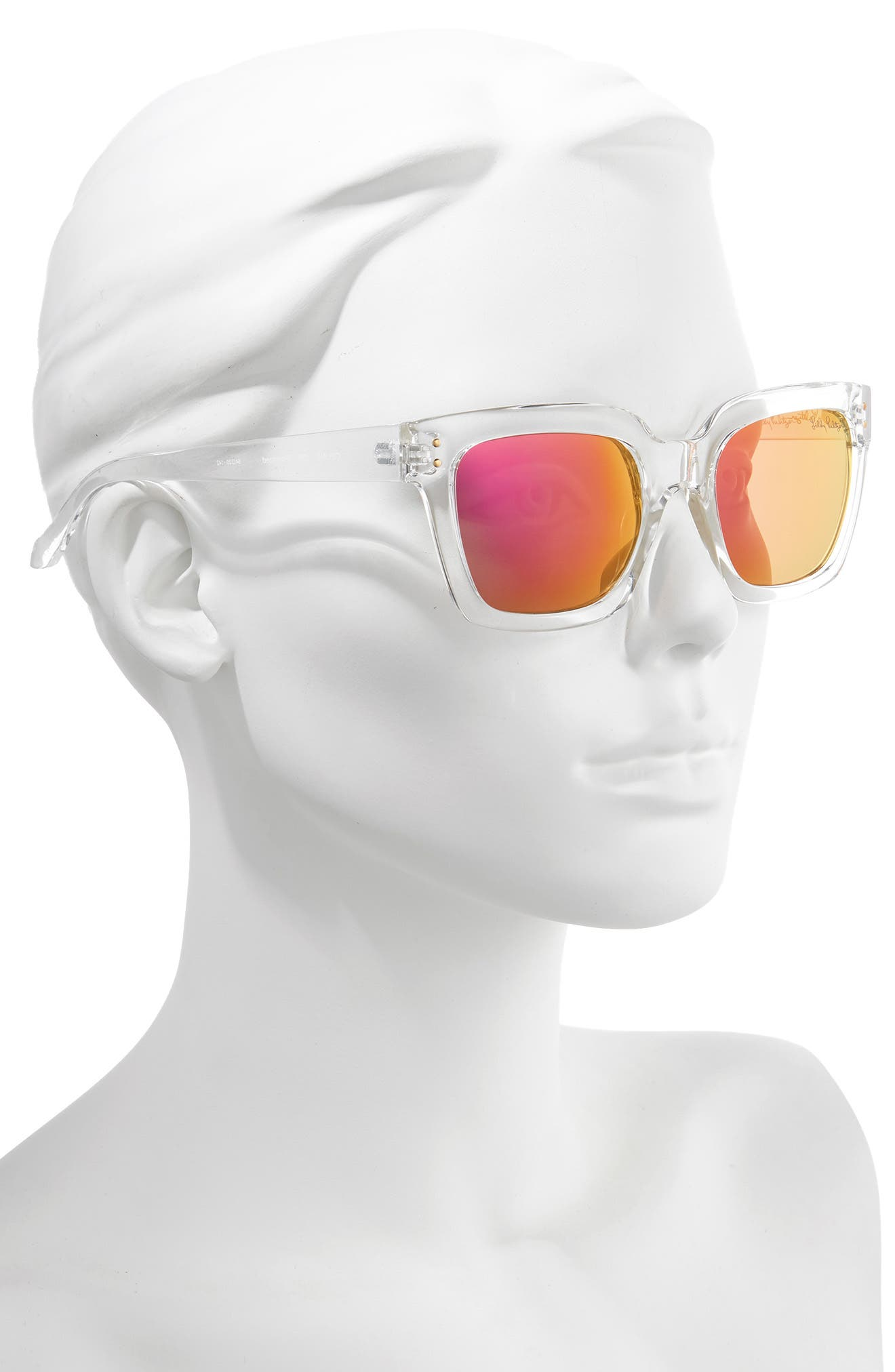LILLY PULITZER<SUP>®</SUP>,                             Lilly Pulitzer Celine 54mm Polarized Square Sunglasses,                             Alternate thumbnail 2, color,                             CRYSTAL CLEAR/ PINK MIRROR
