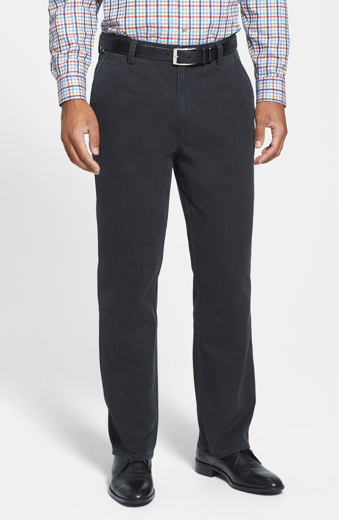 Curtis Flat Front Five-Pocket Cotton Twill Pants,                         Main,                         color, BLACK