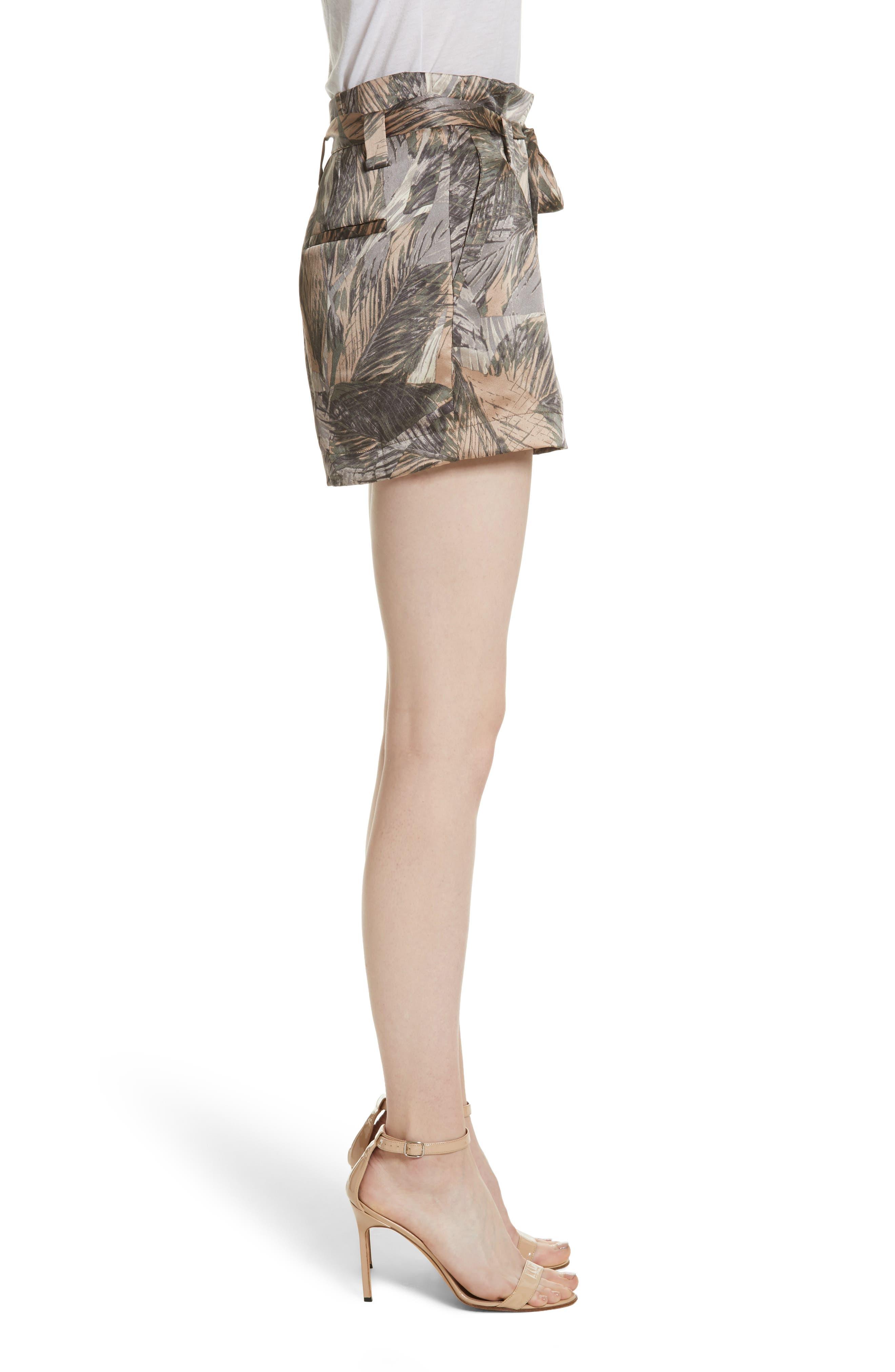 Alex Palm Print Silk Paperbag Shorts,                             Alternate thumbnail 3, color,