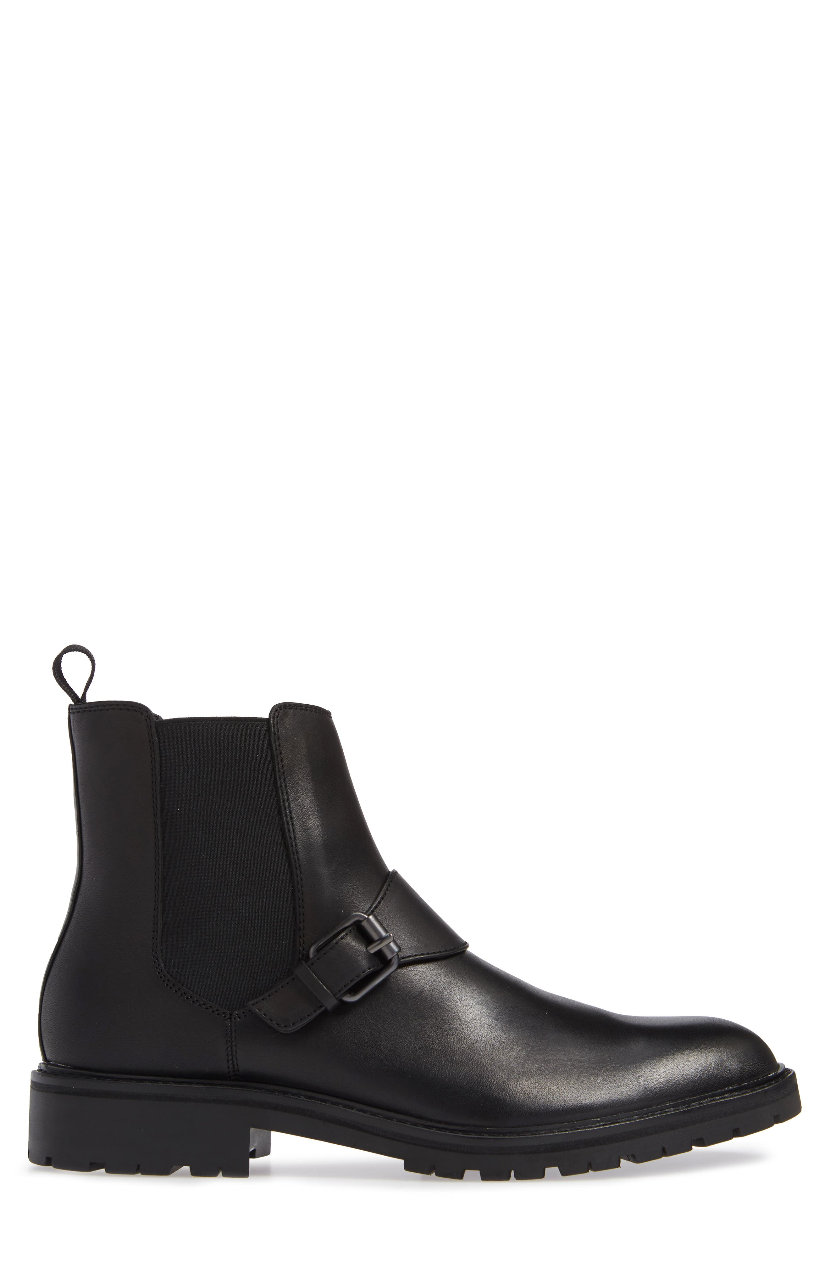 Upton Chelsea Buckle Boot,                             Alternate thumbnail 3, color,                             BLACK LEATHER