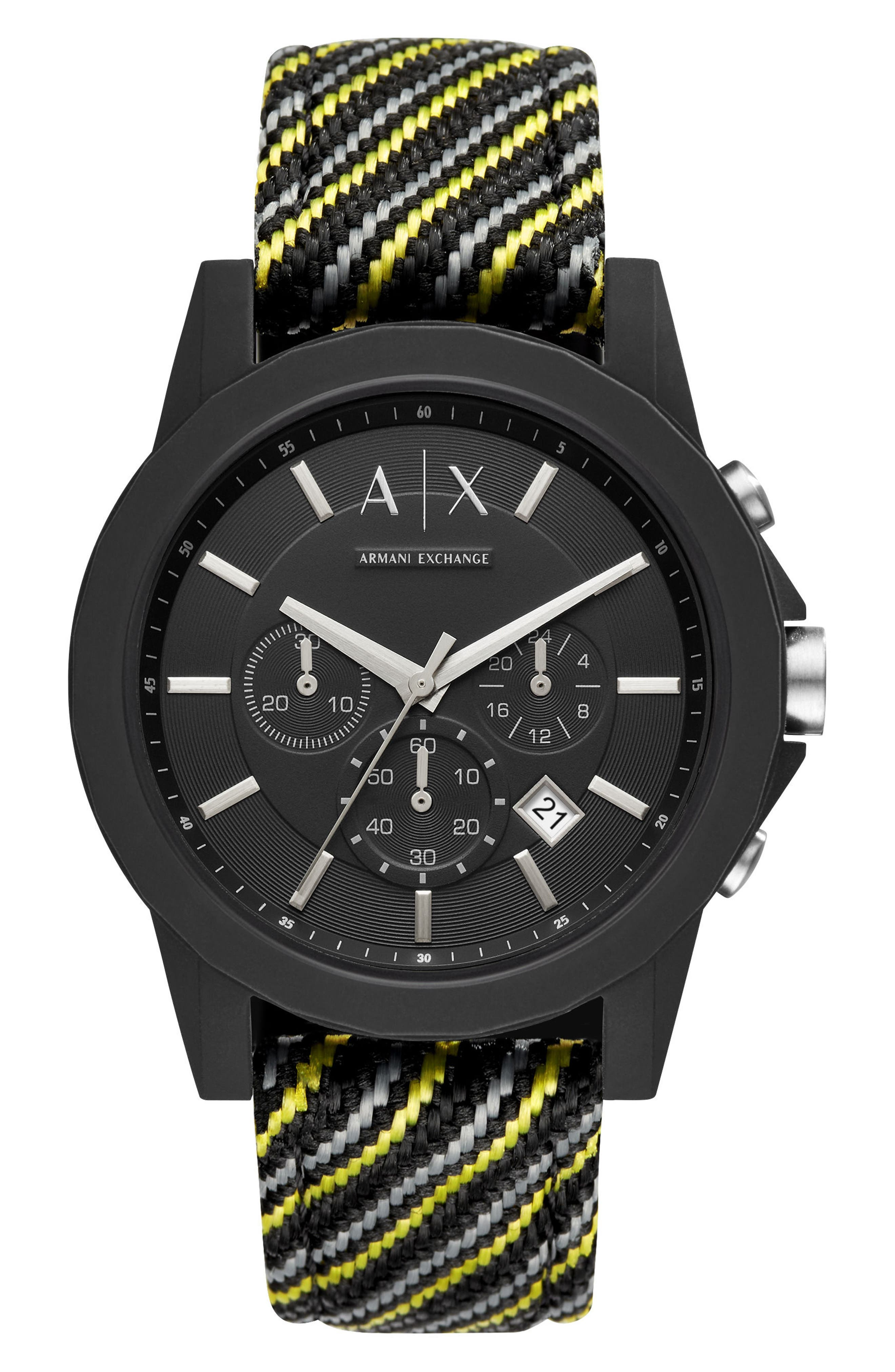 Woven Strap Chronograph Watch, 45mm,                             Main thumbnail 1, color,                             020