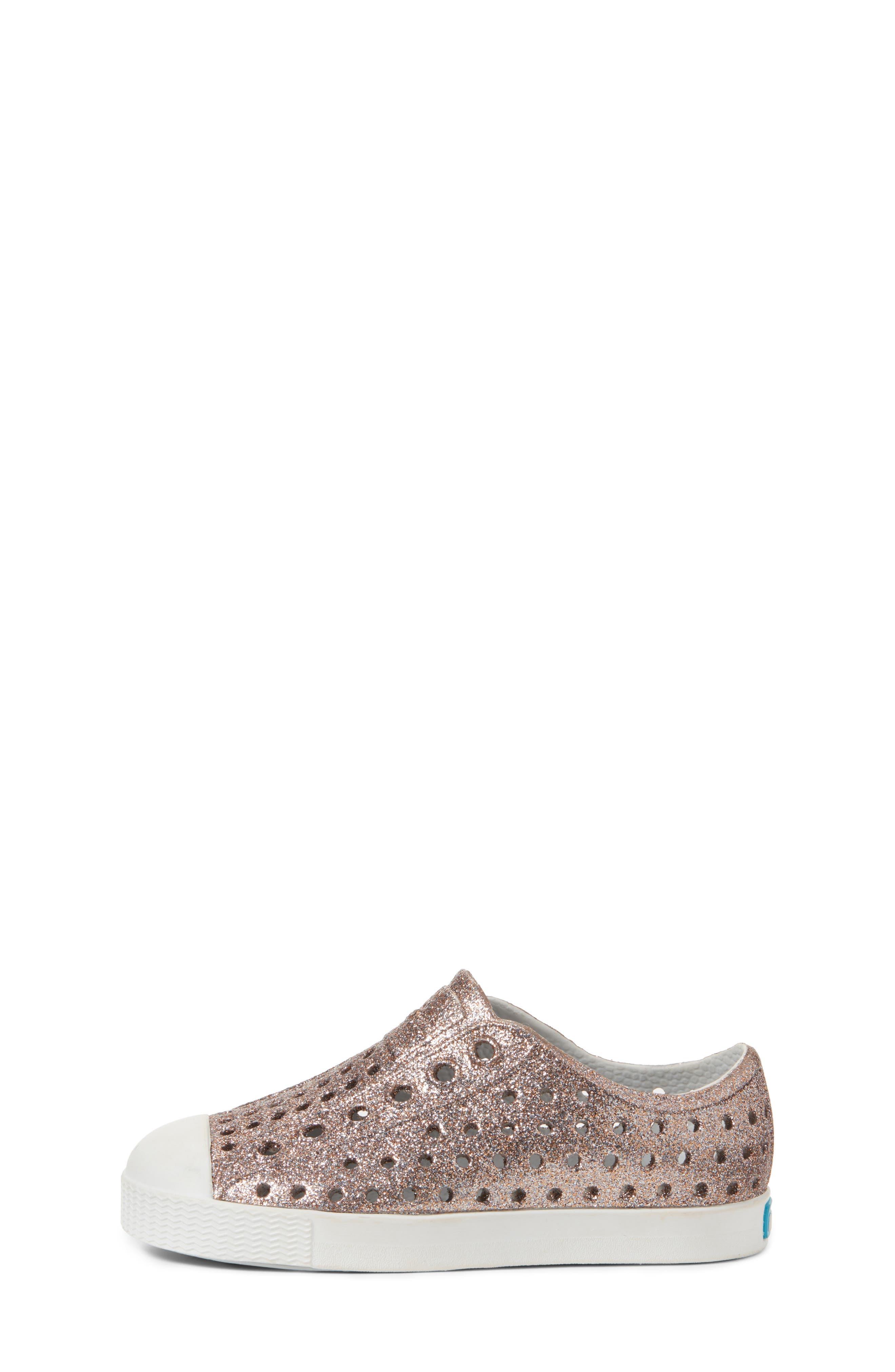 Jefferson - Bling Glitter Slip-On Sneaker,                             Alternate thumbnail 3, color,                             METALLIC BLING/ SHELL WHITE