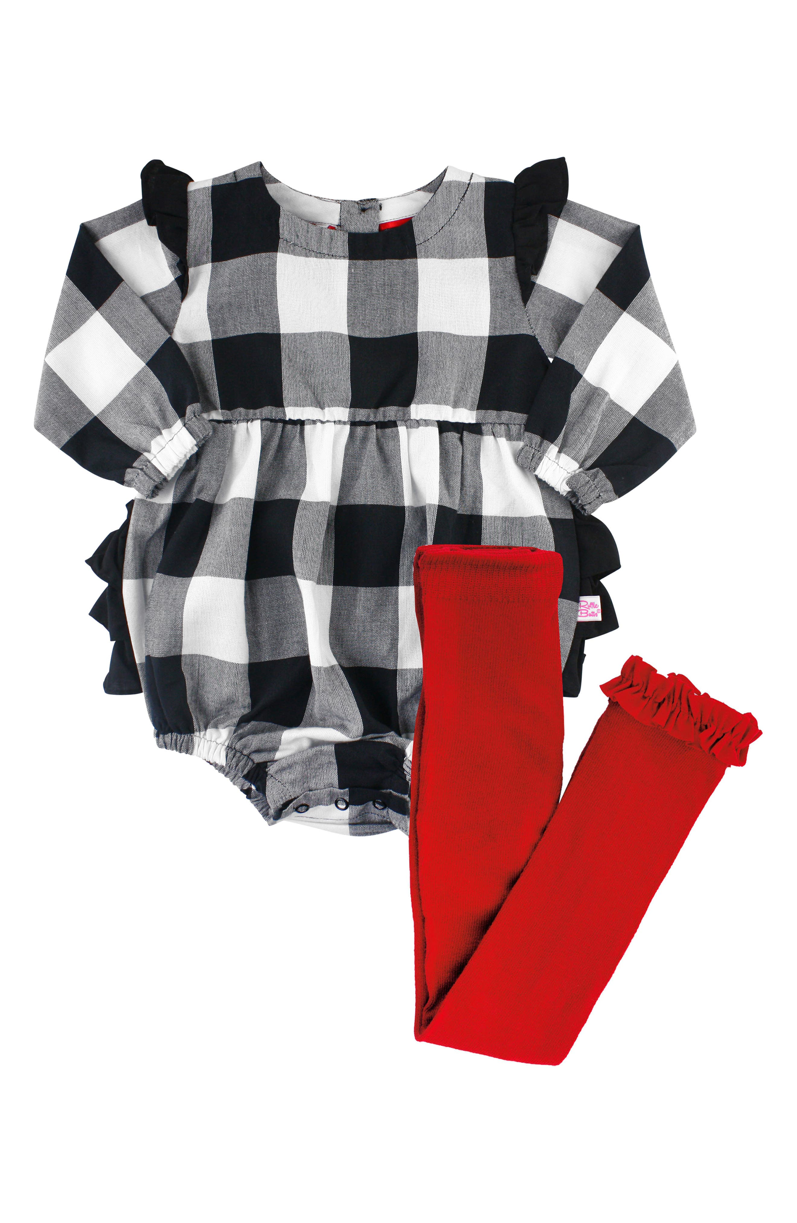 Check Bubble Romper & Ruffle Leggings Set,                         Main,                         color, 001