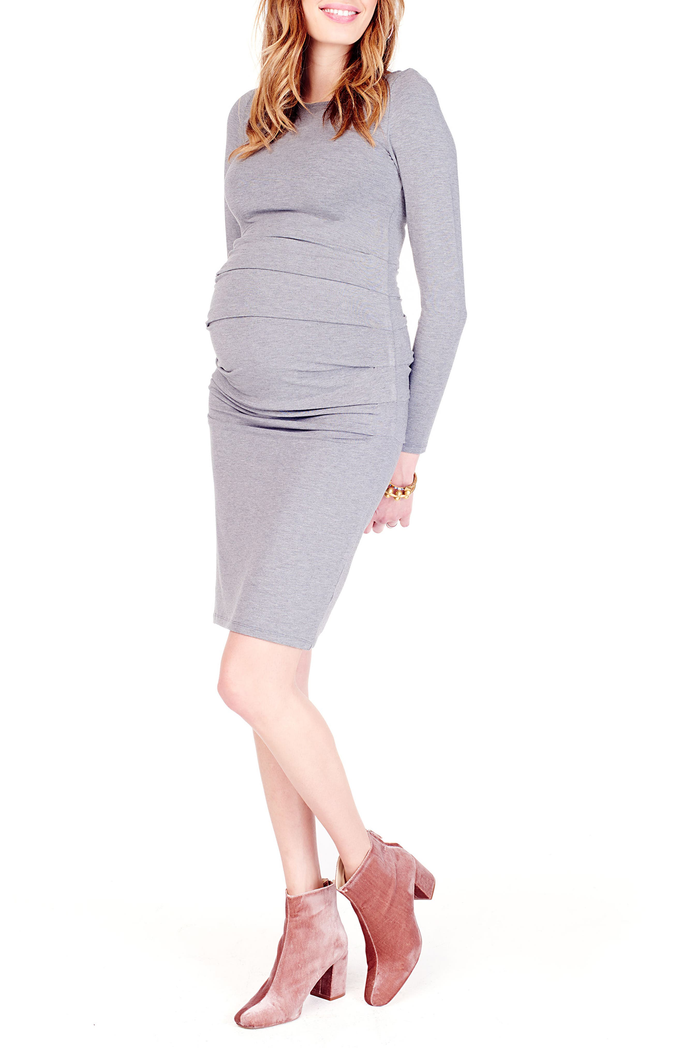 Shirred Maternity Dress,                             Alternate thumbnail 3, color,                             HEATHER GREY