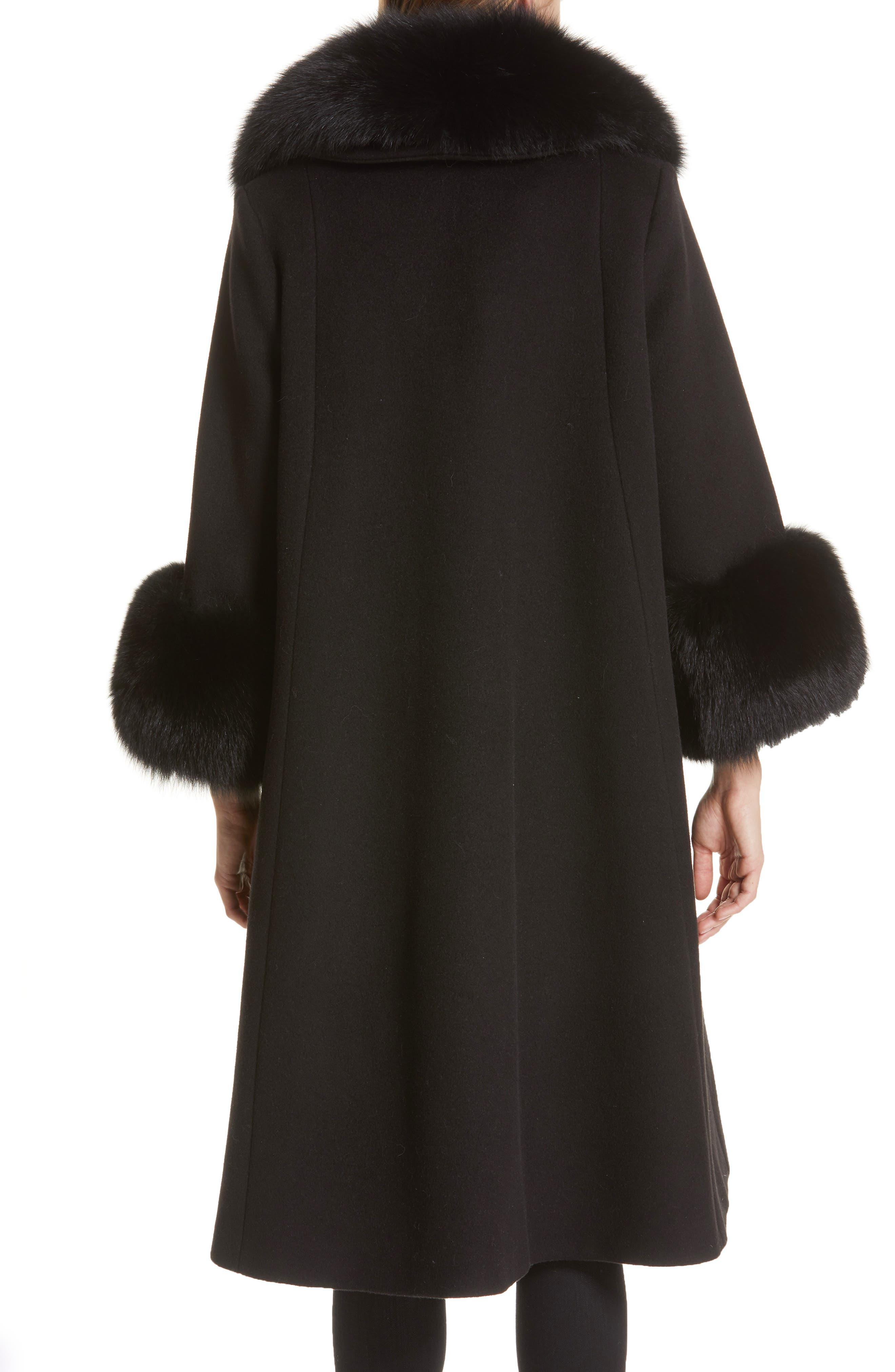 SAKS POTTS,                             Yvonne Wool Coat with Genuine Fox Fur Trim,                             Alternate thumbnail 2, color,                             001