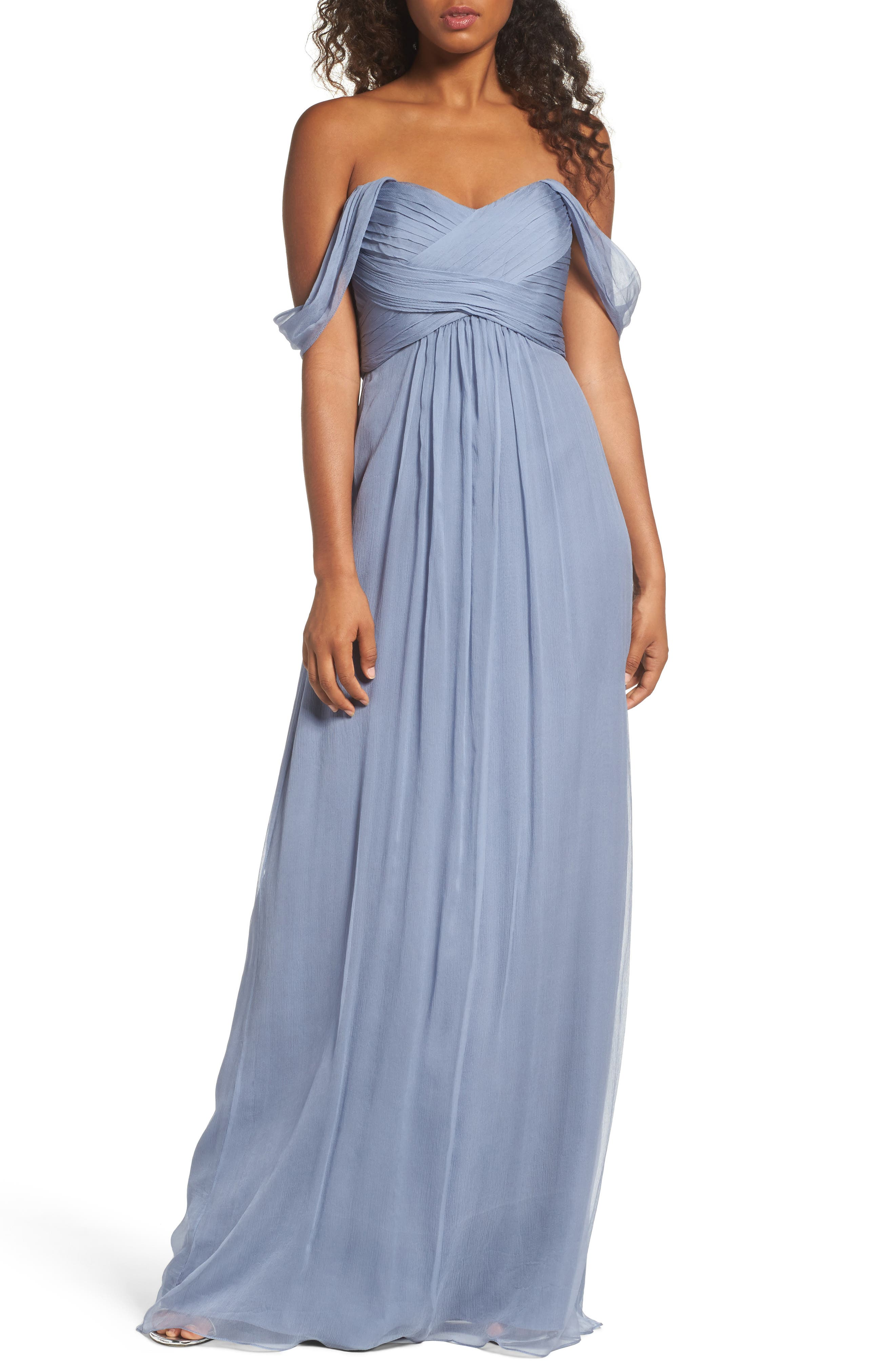 Convertible Crinkled Silk Chiffon Gown,                         Main,                         color,