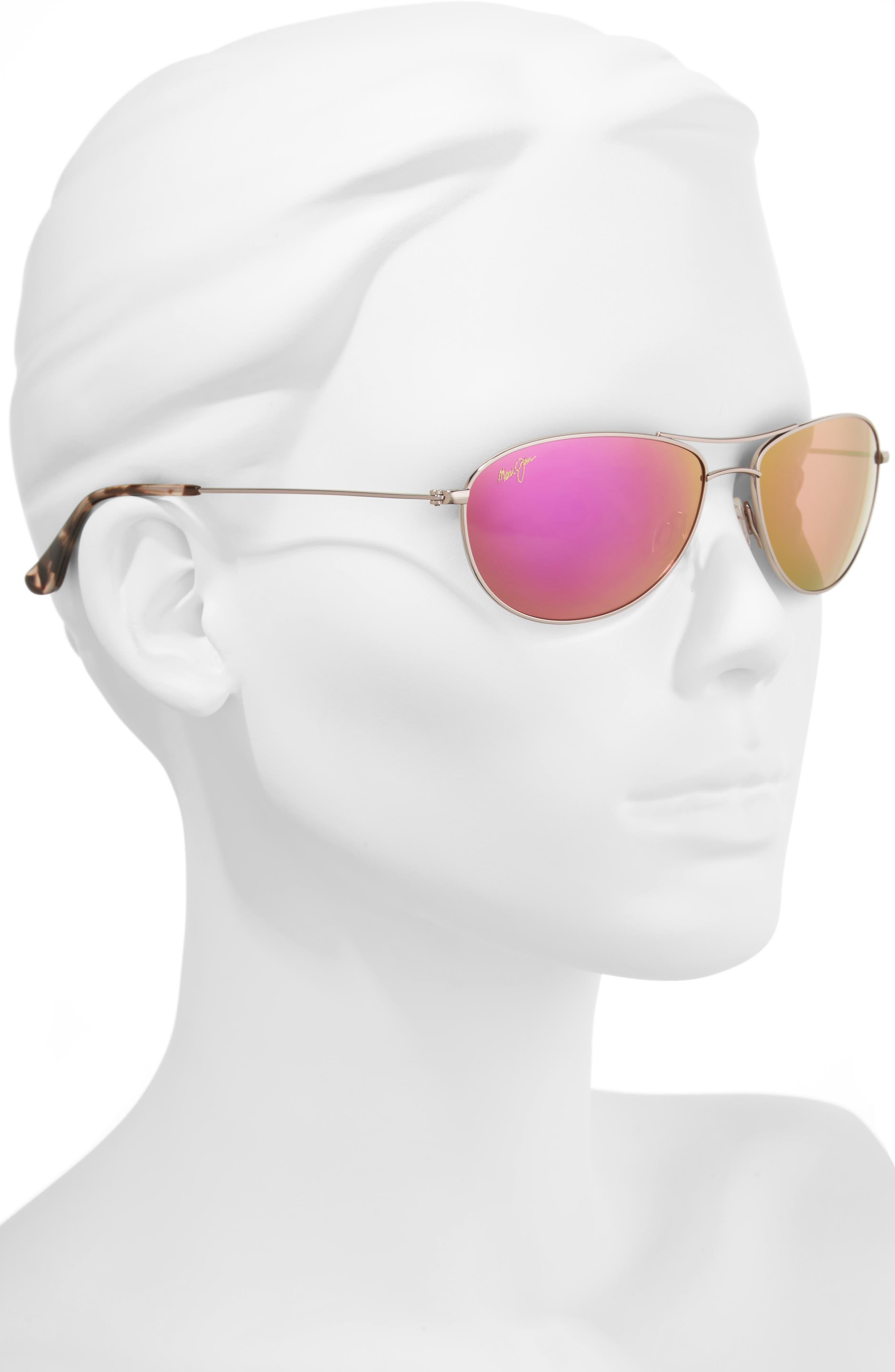 Baby Beach 56mm Mirrored PolarizedPlus2<sup>®</sup> Aviator Sunglasses,                             Alternate thumbnail 2, color,                             ROSE GOLD/ MAUI SUNRISE