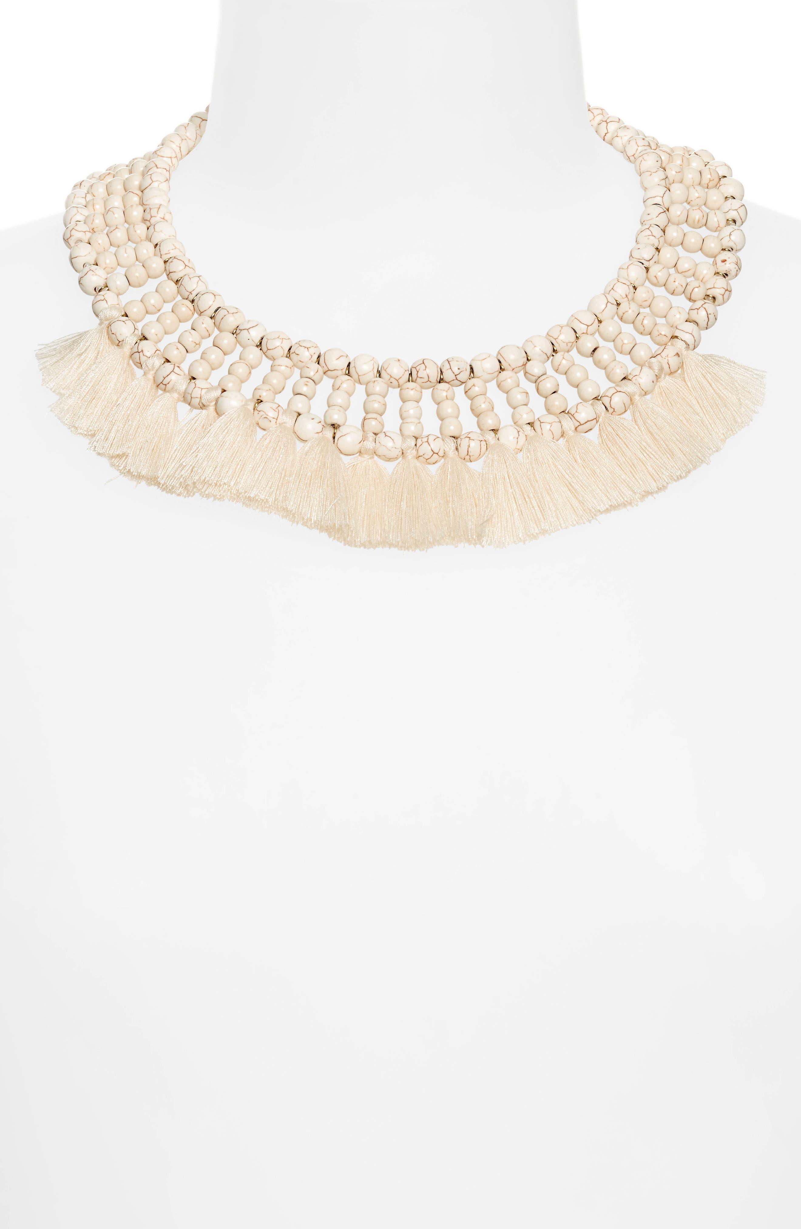 Howlite Tassel Collar Necklace,                             Alternate thumbnail 2, color,