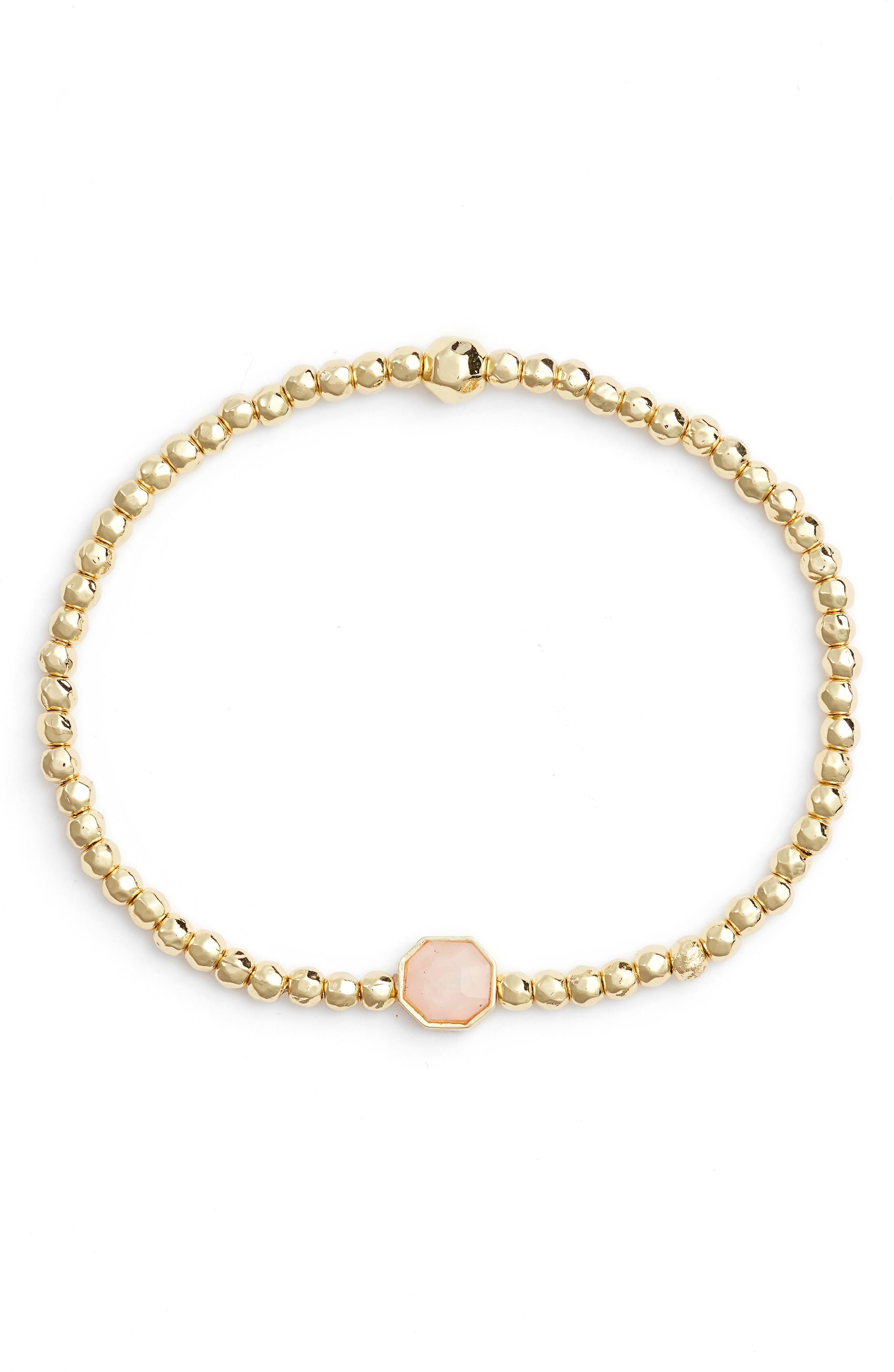 GORJANA Power Gemstone Beaded Bracelet in Rose Quartz/ Gold