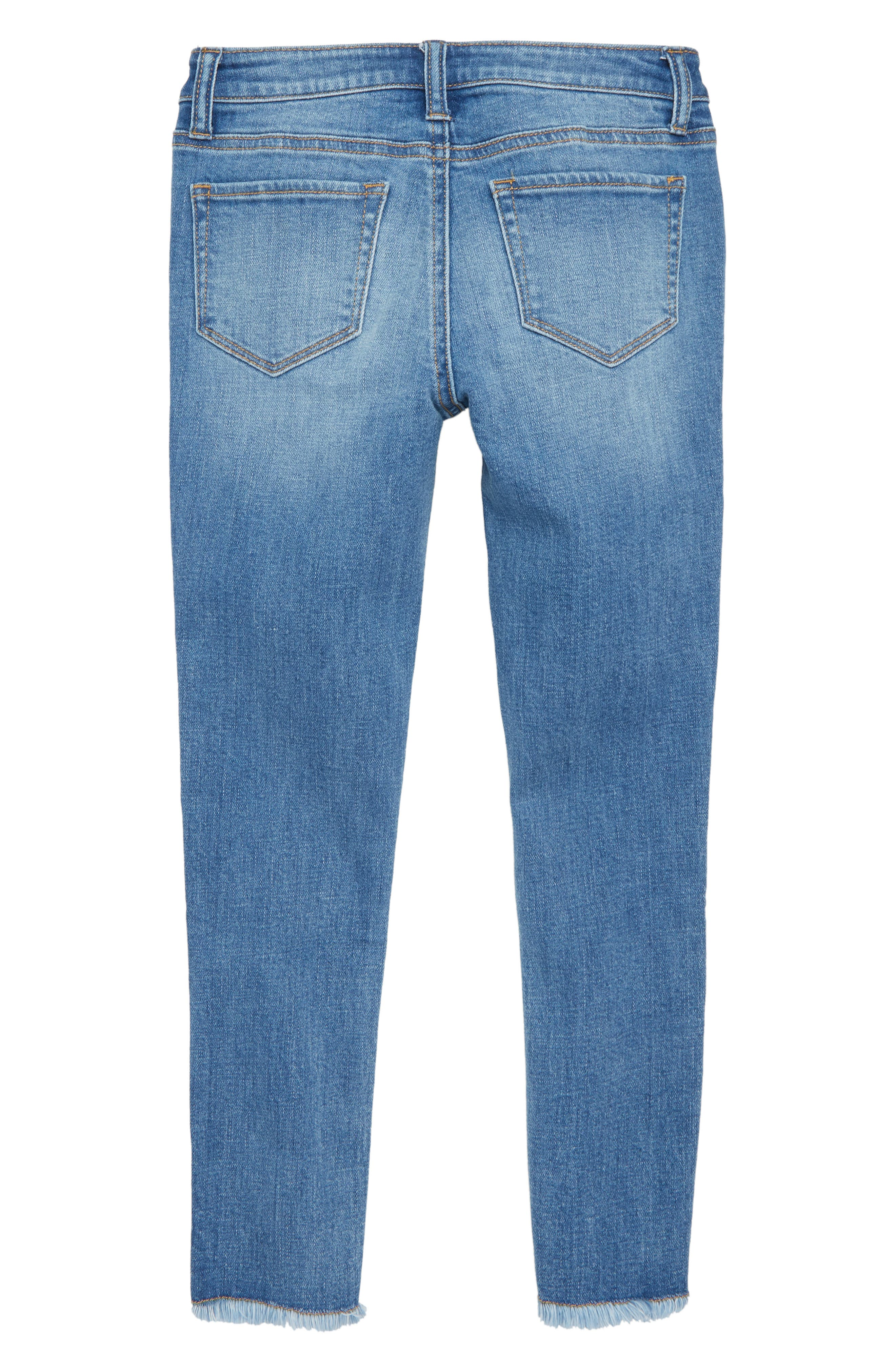 Embroidered Fray Hem Skinny Jeans,                             Alternate thumbnail 2, color,