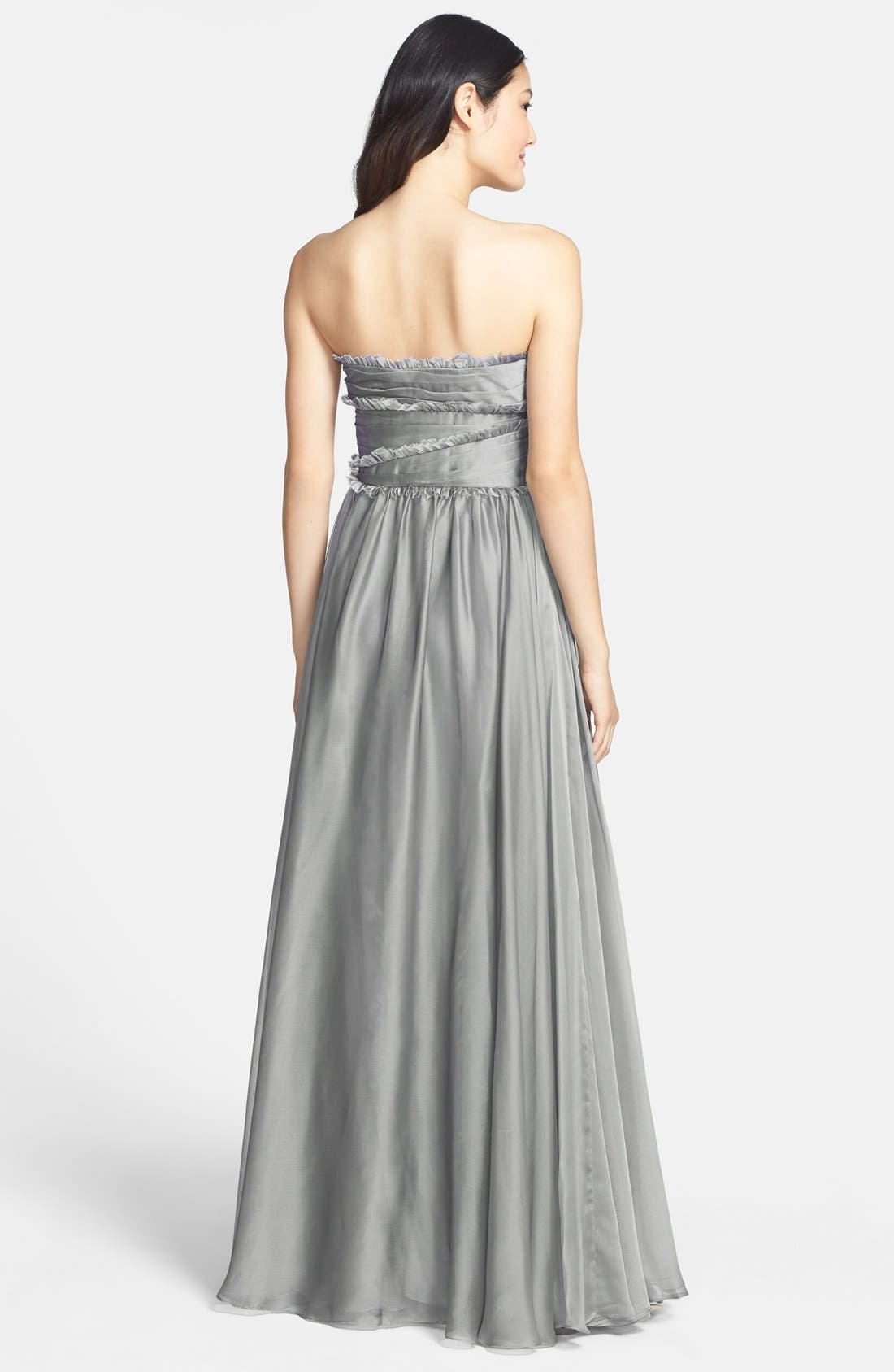ML Monique Lhuillier Bridesmaids Strapless Chiffon Gown,                             Alternate thumbnail 20, color,