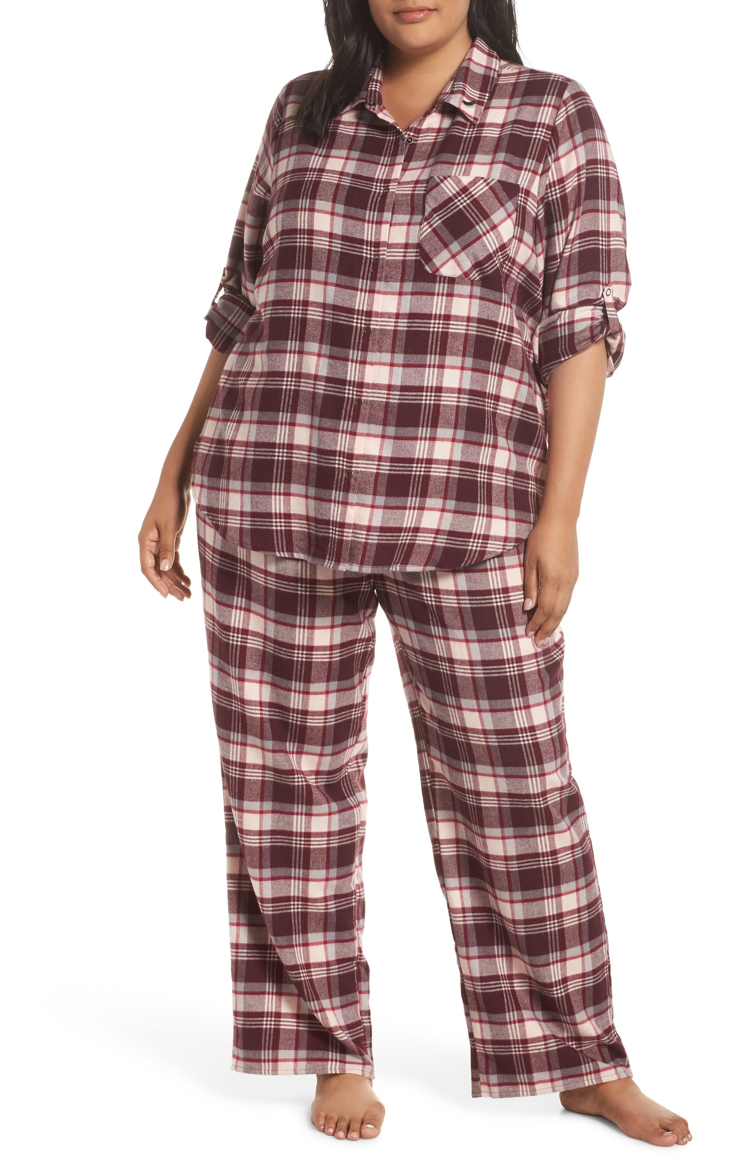 Plus Size Make + Model Flannel Pajamas, Burgundy