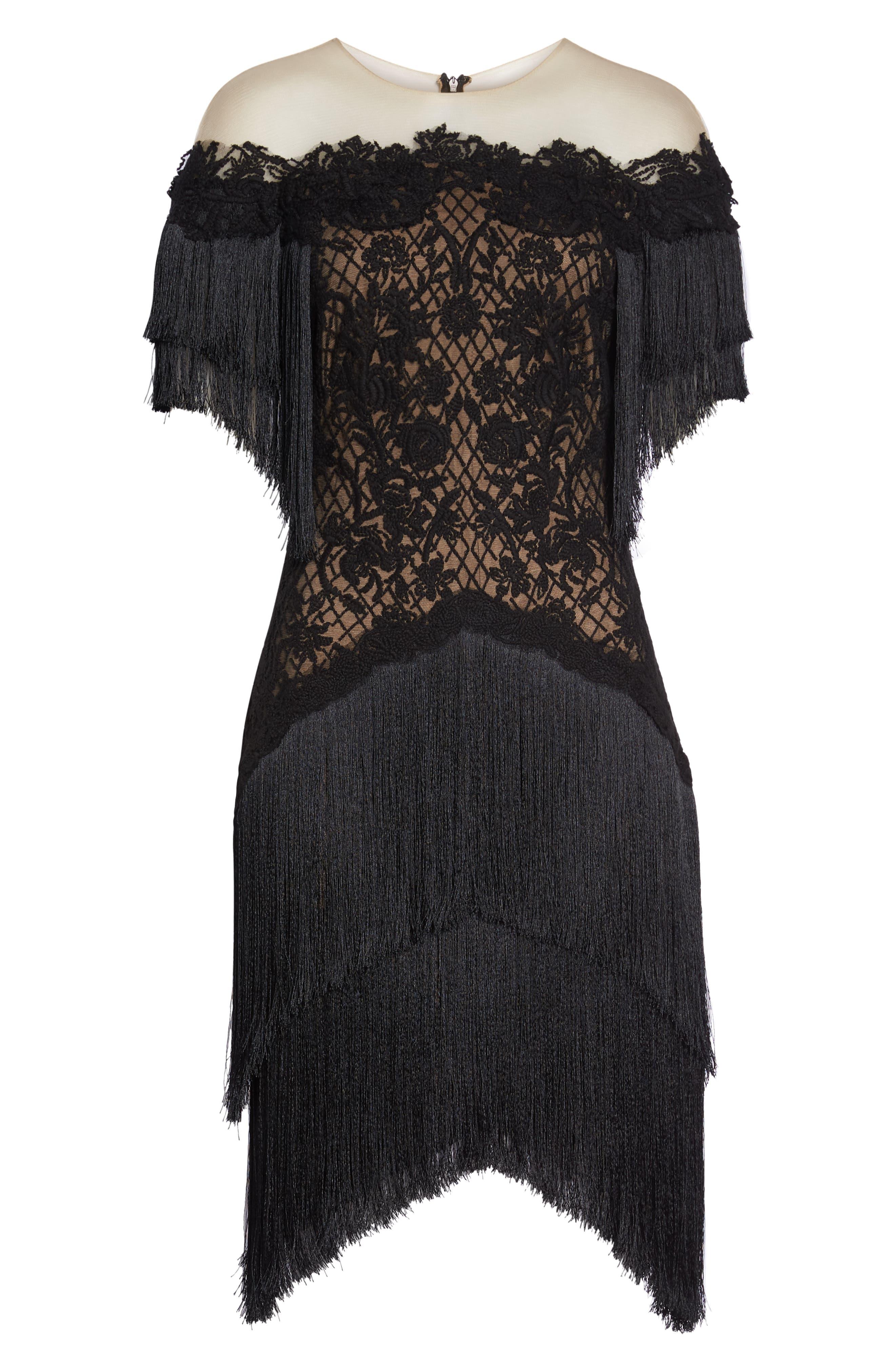 Off the Shoulder Fringe & Embroidered Mesh Dress,                             Alternate thumbnail 6, color,                             BLACK/ NUDE