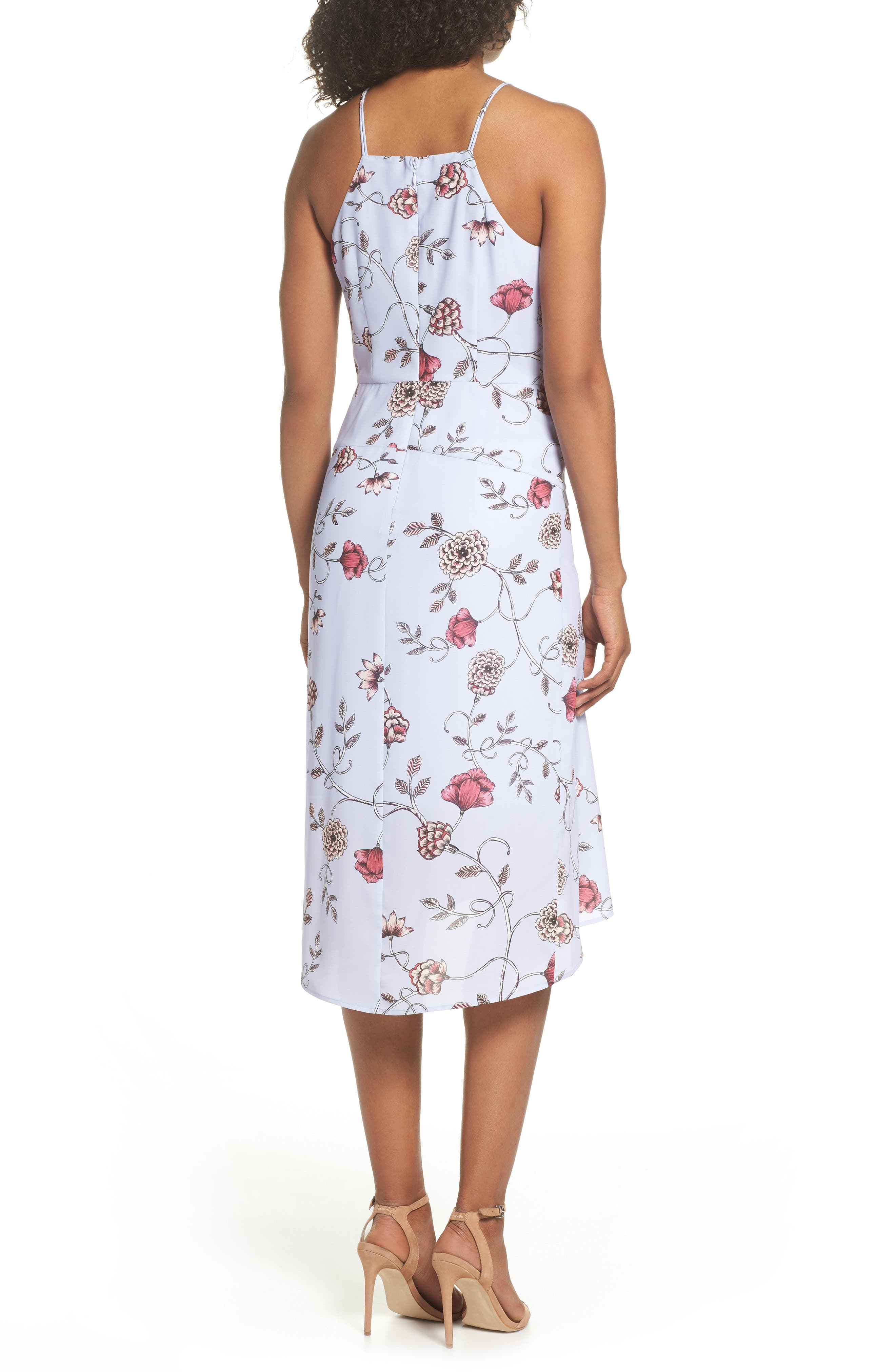 Floral High/Low Midi Dress,                             Alternate thumbnail 2, color,                             510