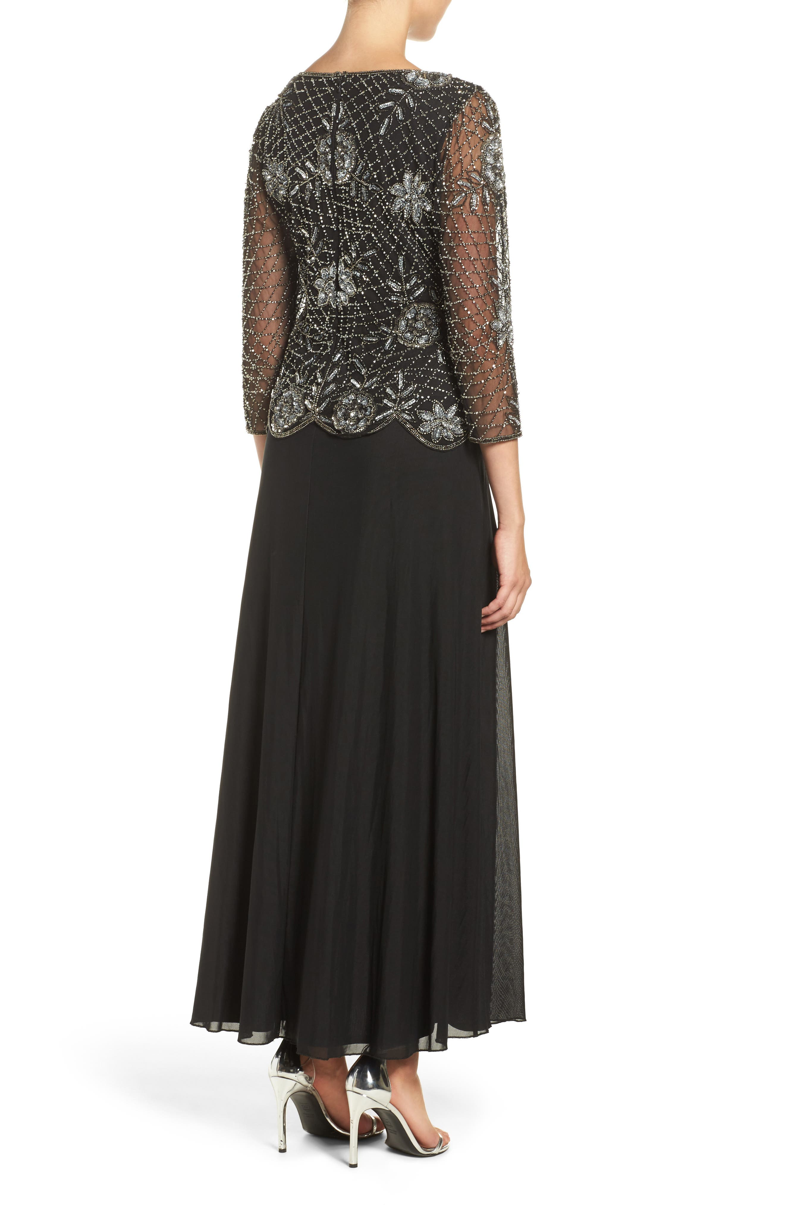 Embellished Mesh Gown,                             Alternate thumbnail 3, color,                             013