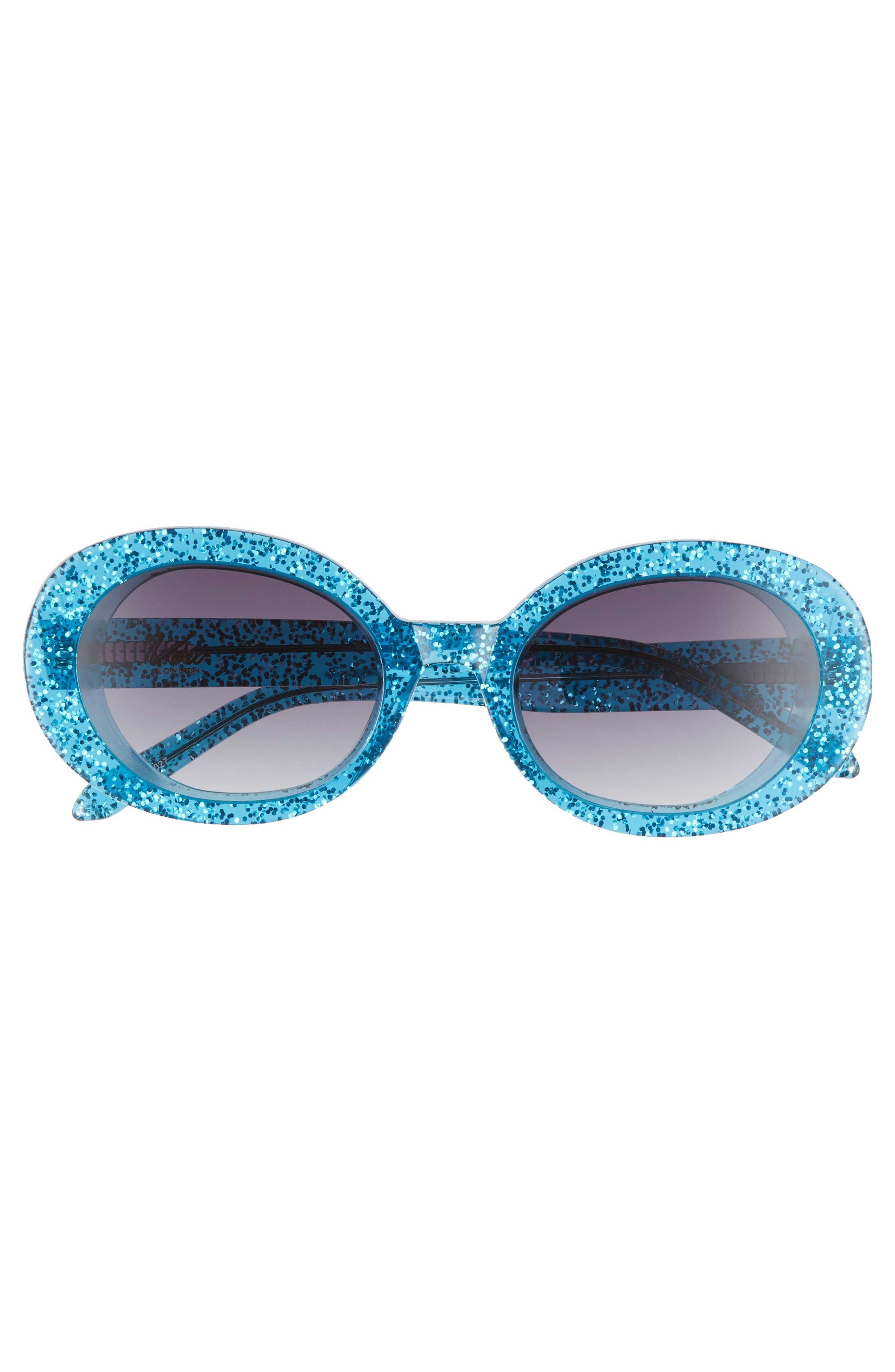 Selena 53mm Oval Sunglasses,                             Alternate thumbnail 3, color,                             BLUE GLITTER/ SMOKE