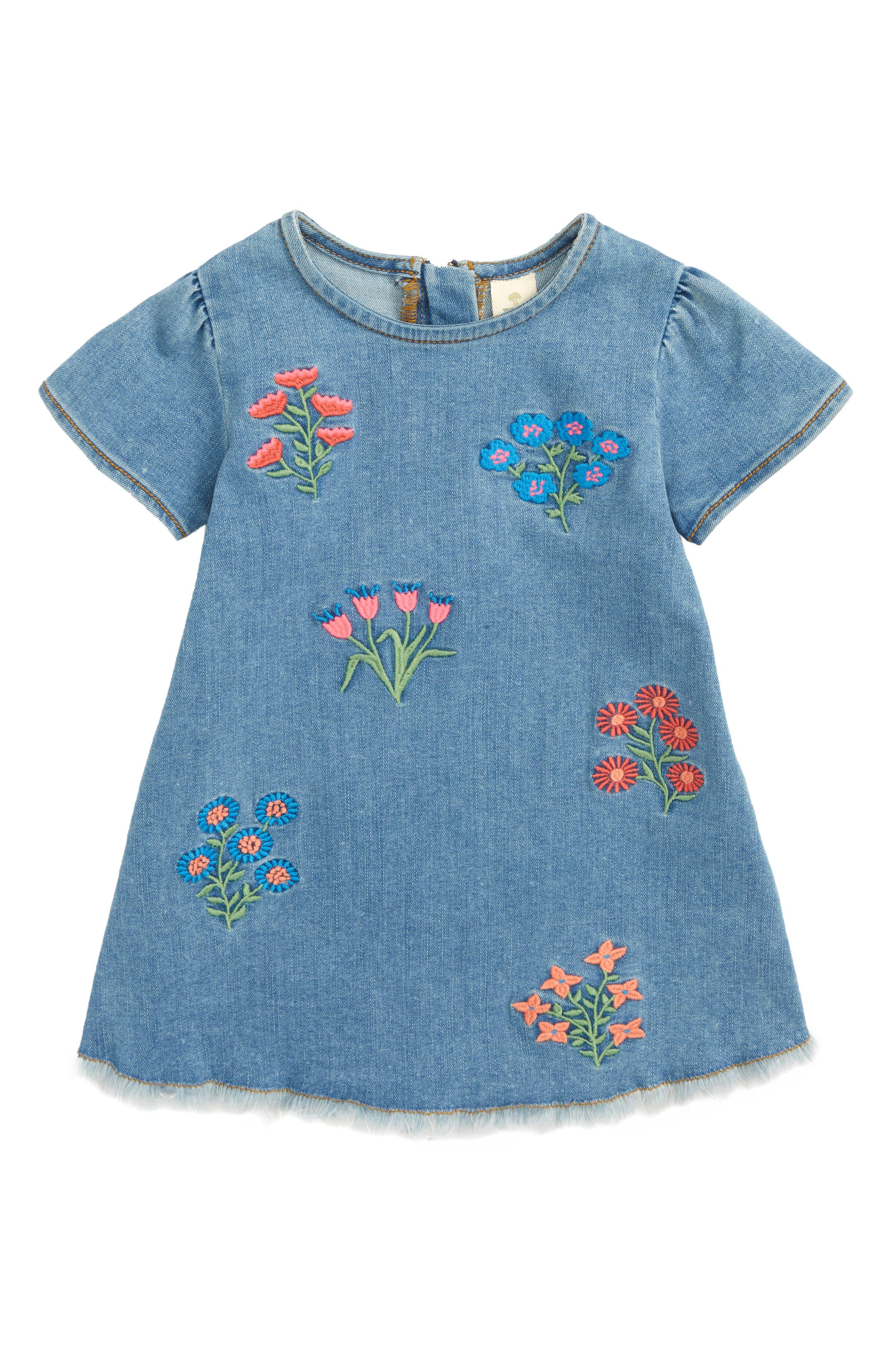 Embroidered Denim Dress,                         Main,                         color, 420