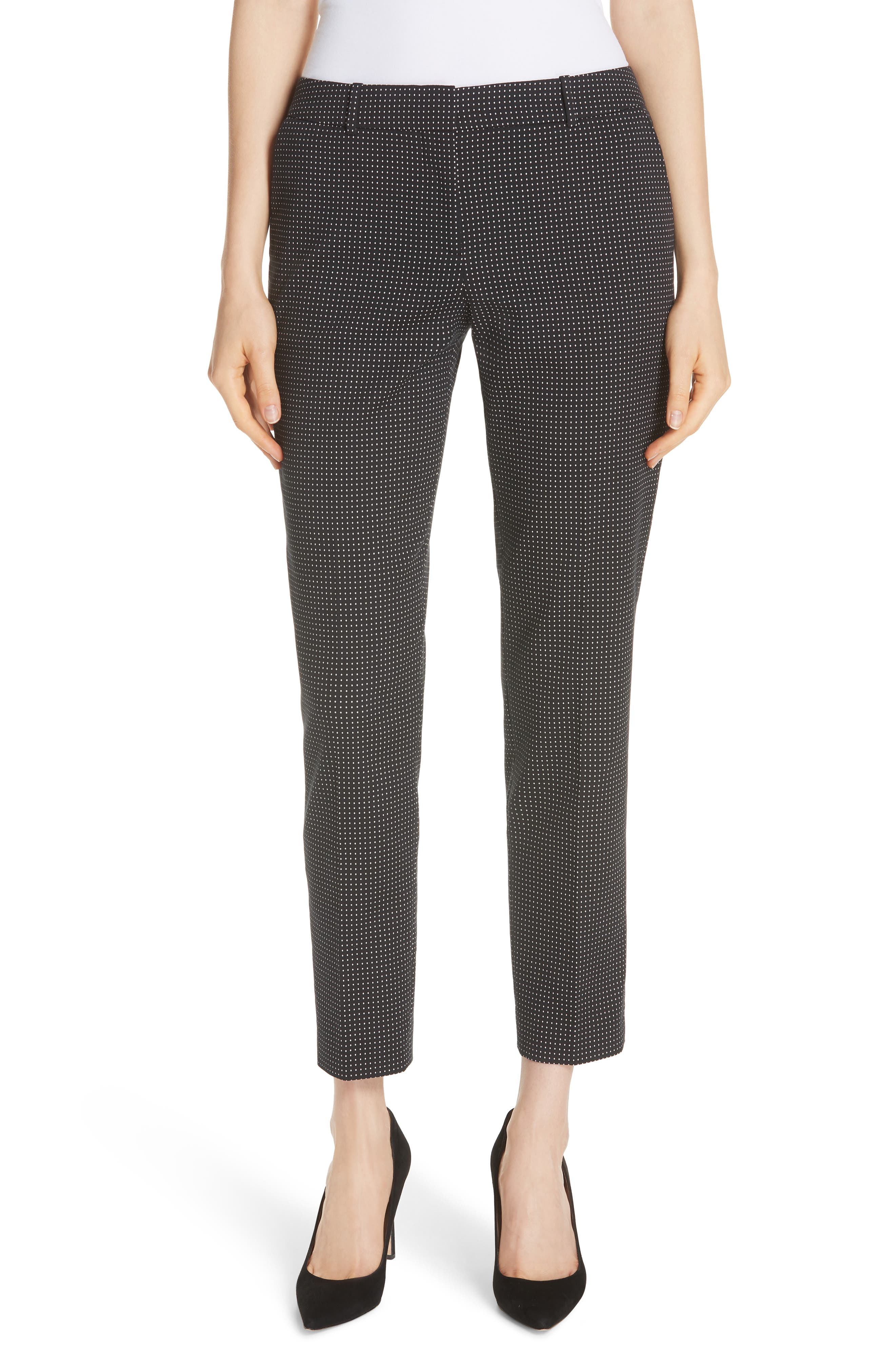 Tanitea Mini Dot Stretch Wool Suit Trousers,                         Main,                         color, BLACK FANTASY