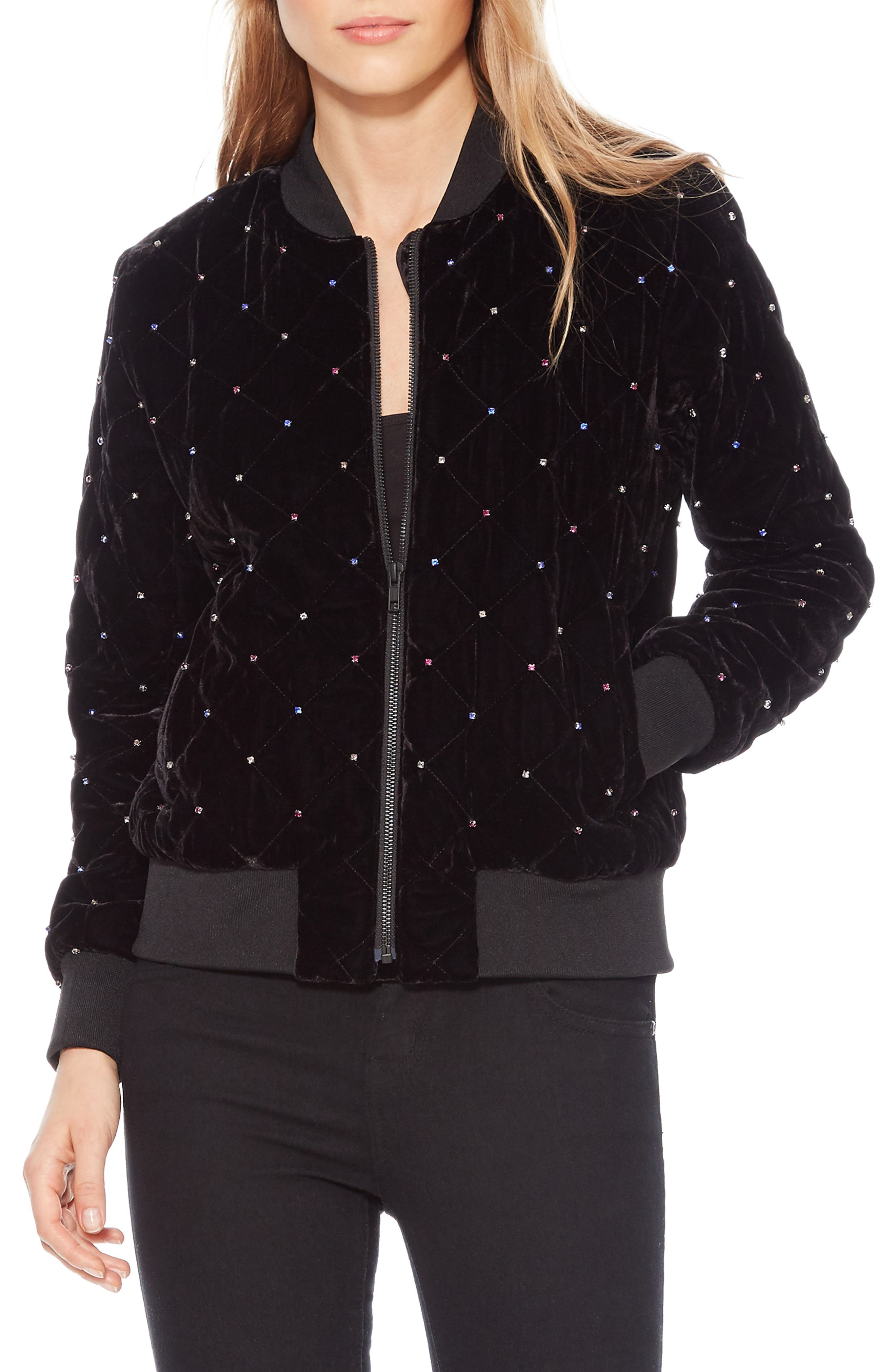 Meredith Velvet Bomber Jacket,                             Main thumbnail 1, color,                             BLACK