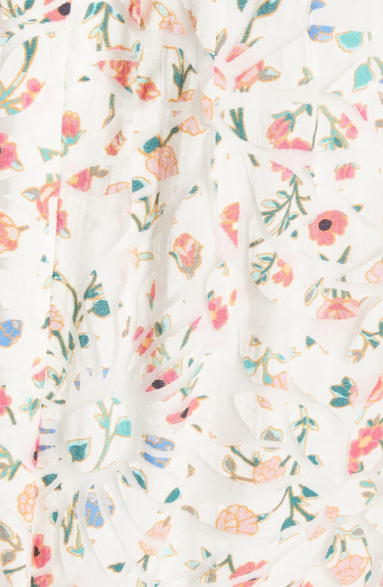 mini bloom burnout midi dress,                             Alternate thumbnail 5, color,                             252