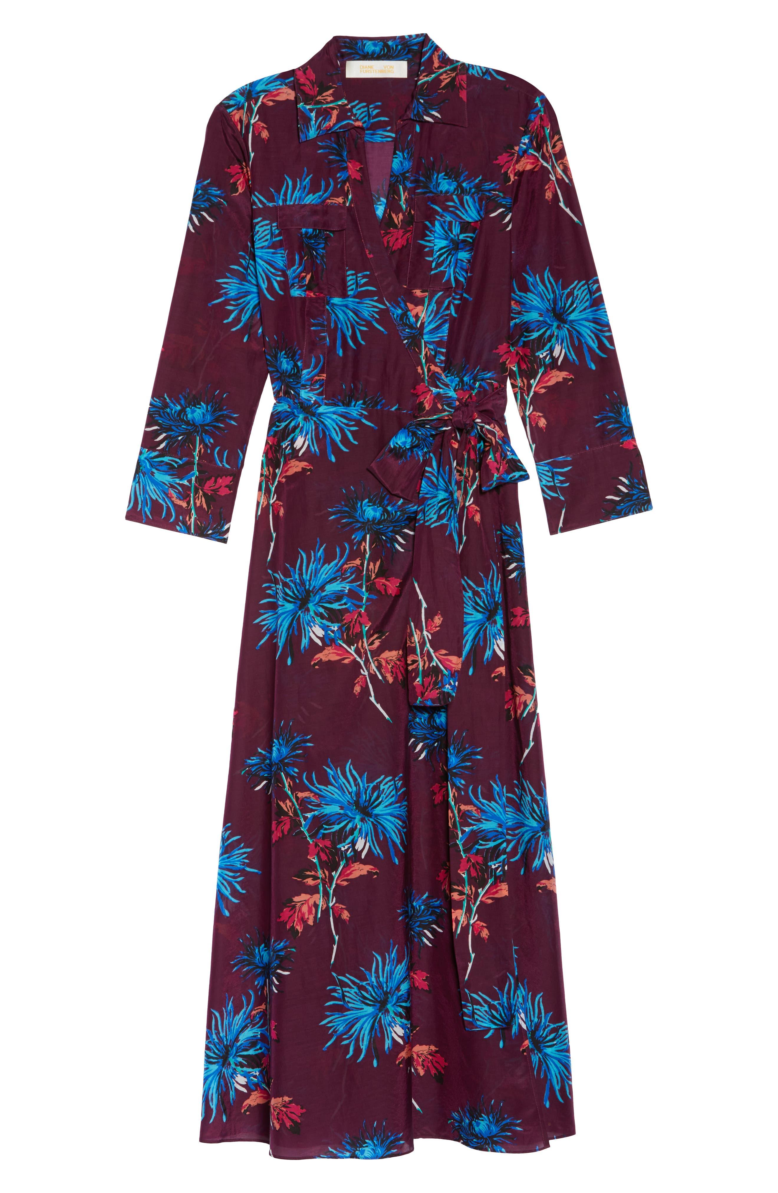 Long Cover-Up Wrap Dress,                             Alternate thumbnail 6, color,                             BURGUNDY