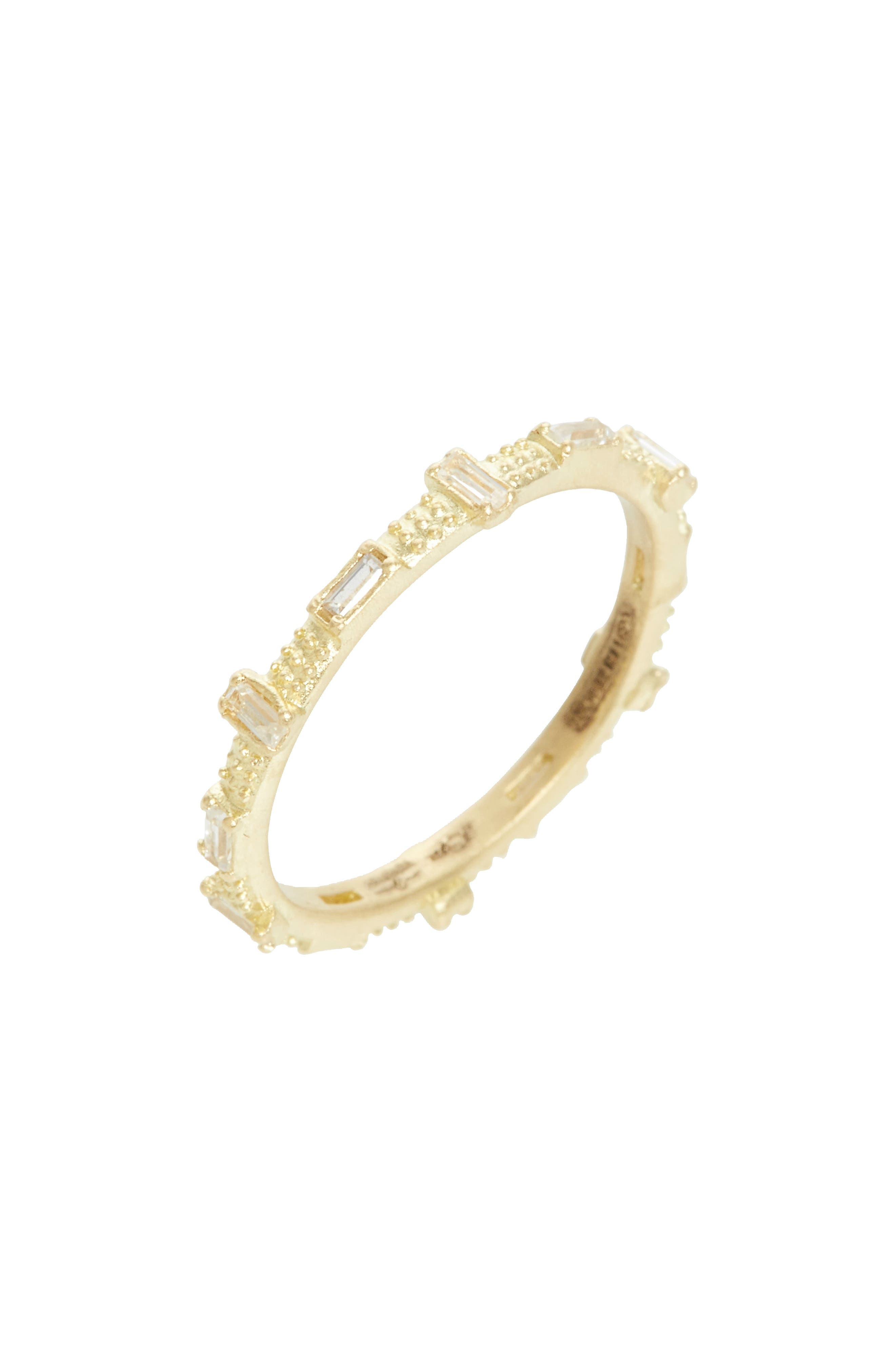 Sueño Baguette Sapphire Stacking Ring,                             Main thumbnail 1, color,                             GOLD