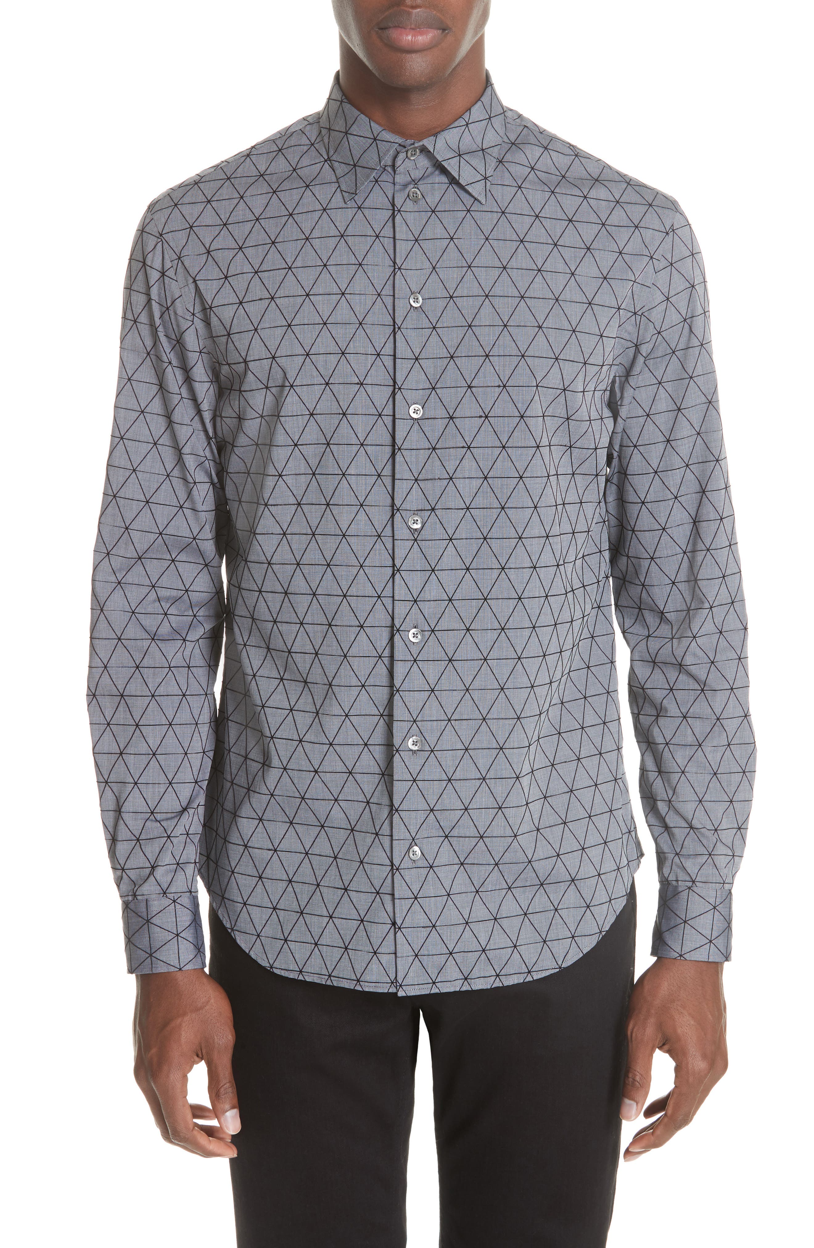 Regular Fit Geometric Sport Shirt,                             Main thumbnail 1, color,                             GREY MULTI