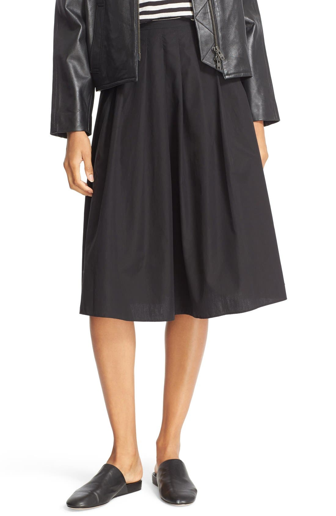 VINCE Multi Pleated Cotton Skirt, Main, color, 001