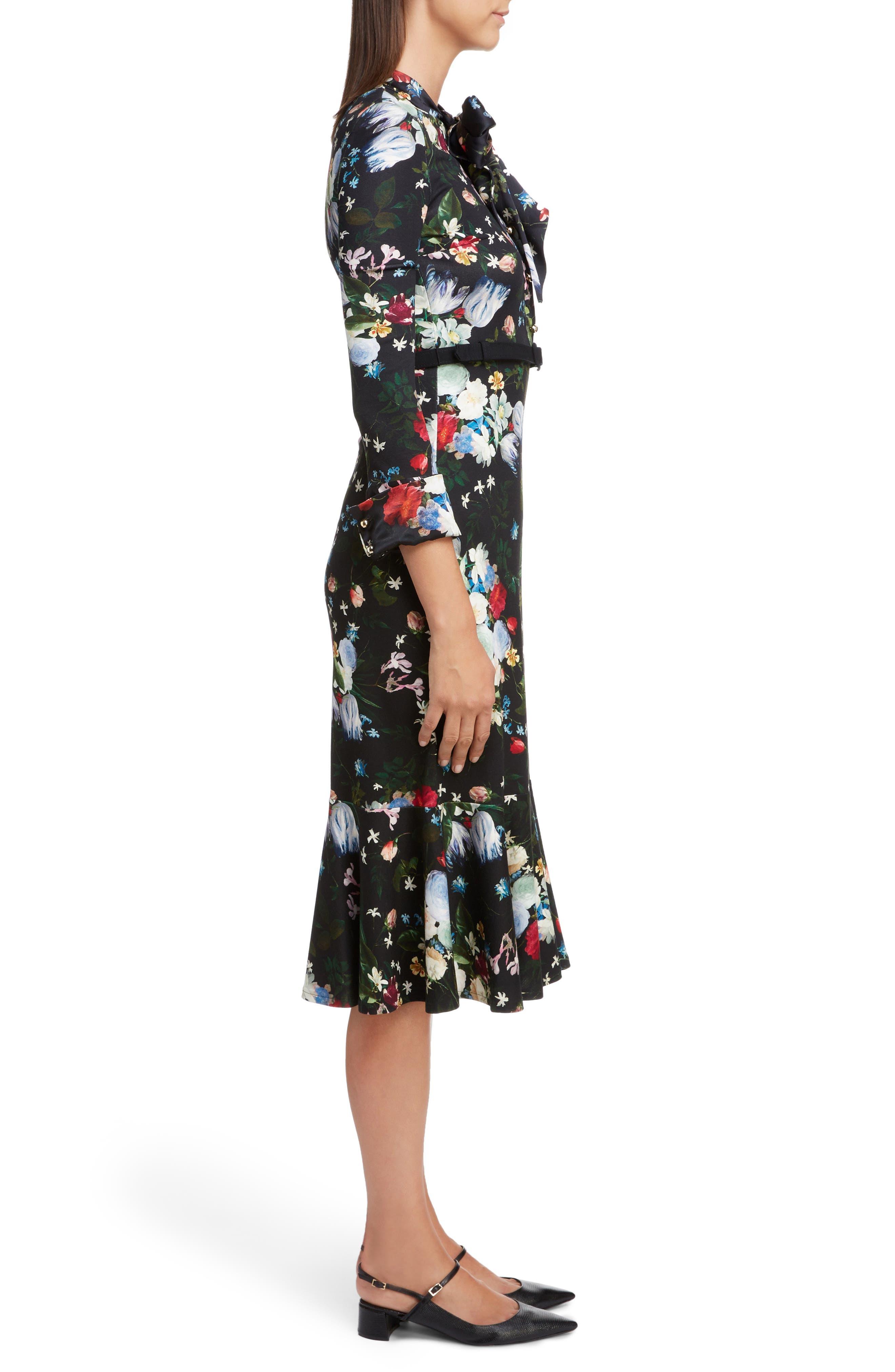 Floral Ponte Jersey Tie Neck Dress,                             Alternate thumbnail 3, color,                             BLACK/ MULTI