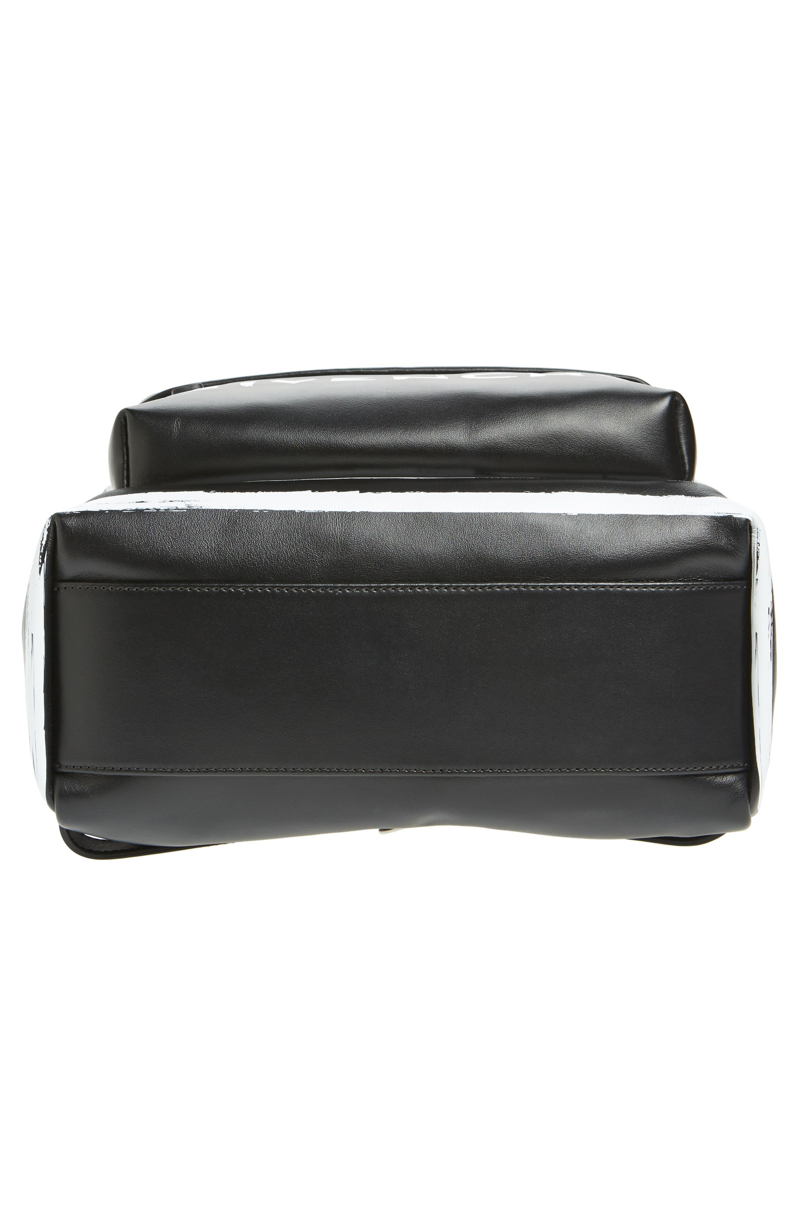 Graffiti Calfskin Leather Backpack,                             Alternate thumbnail 6, color,                             BLACK/ WHITE