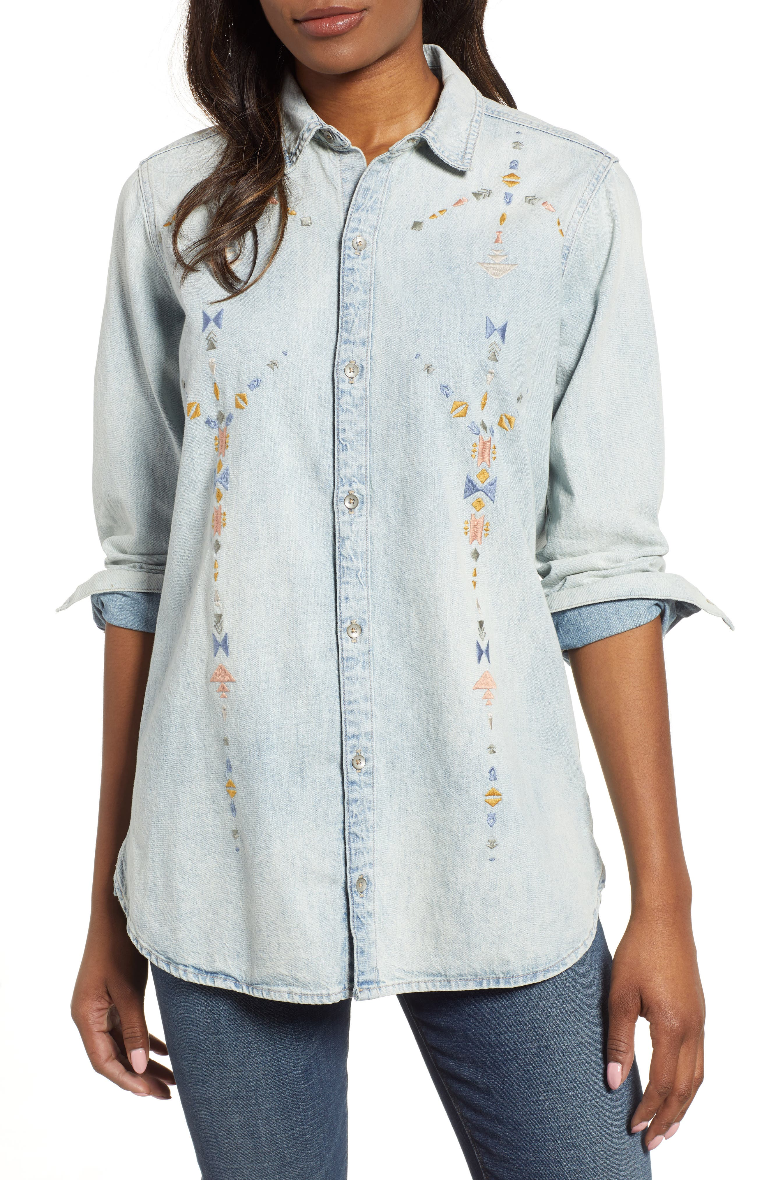 Embroidered Boyfriend Shirt, Main, color, SADDLE HILL