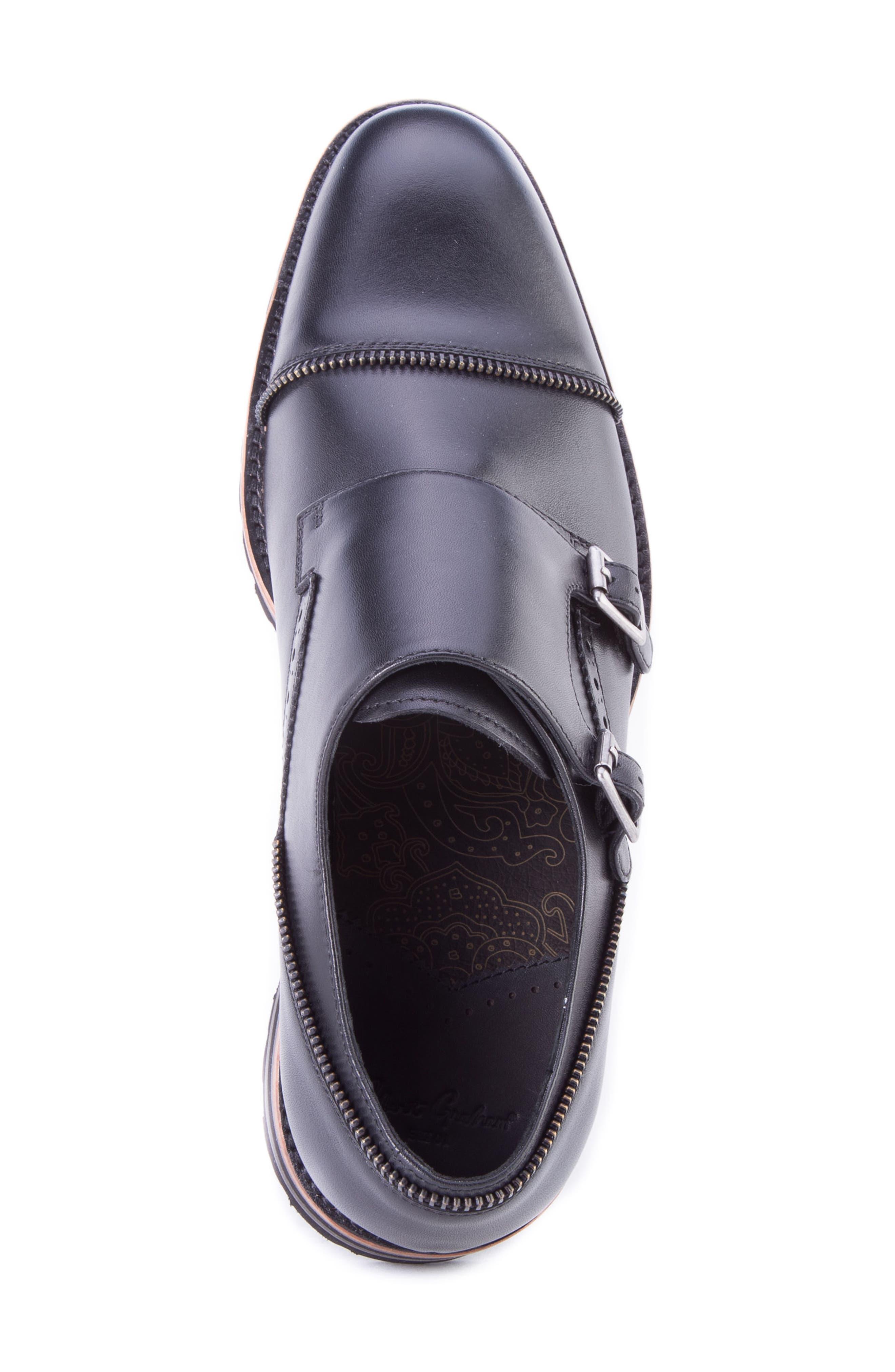 Acadia Double Buckle Monk Shoe,                             Alternate thumbnail 5, color,                             BLACK LEATHER