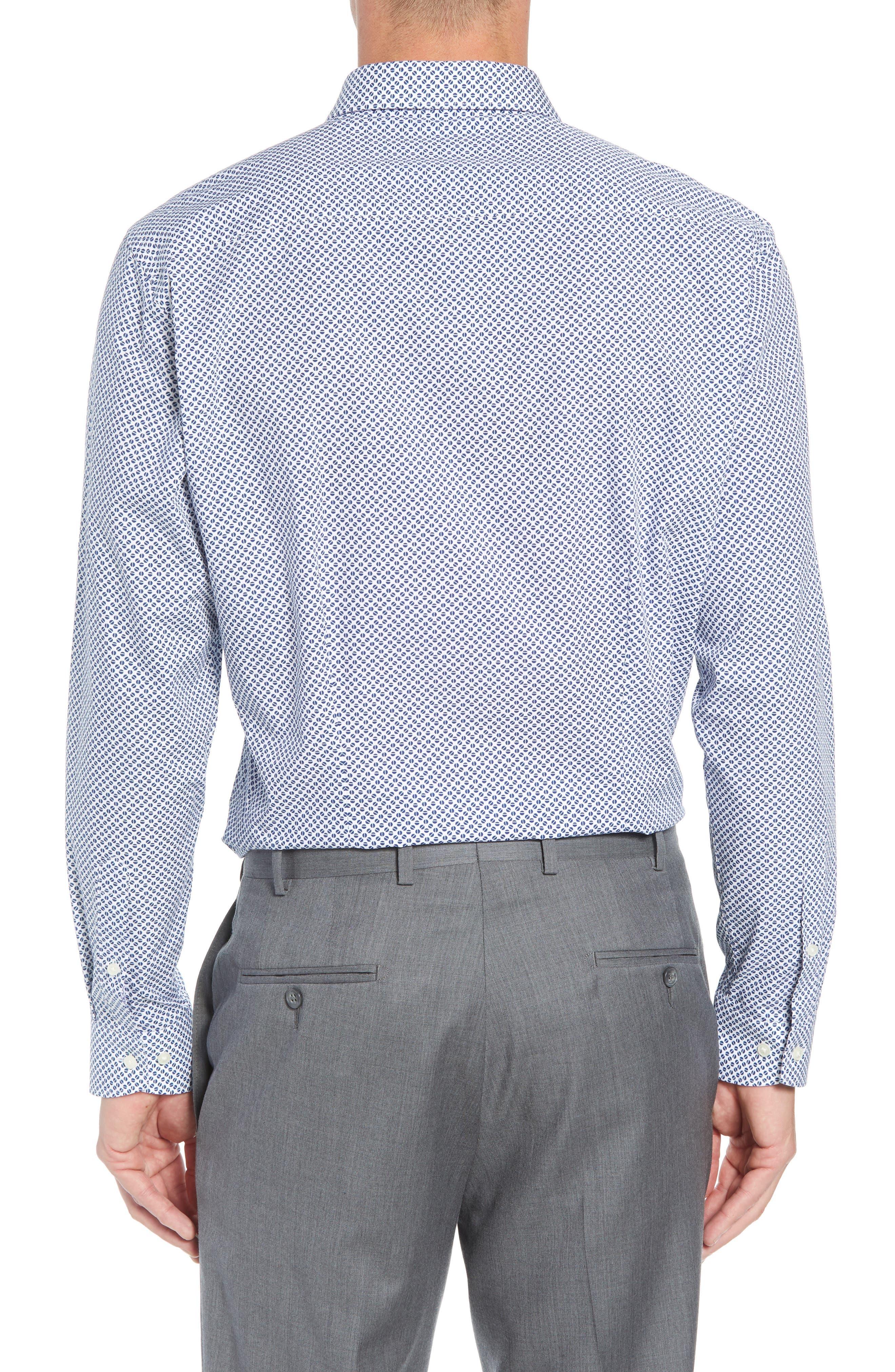 Maratha Trim Fit Print Dress Shirt,                             Alternate thumbnail 3, color,                             WHITE/ BLUE