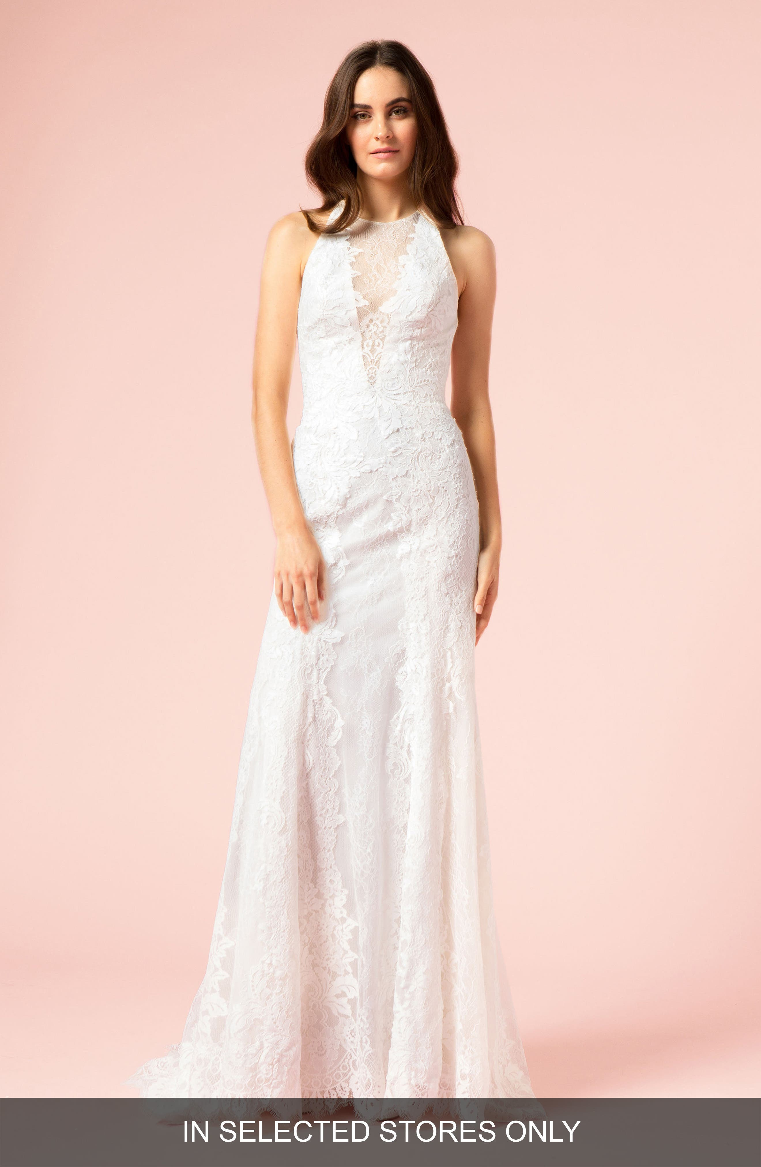 Illusion Plunging Trumpet Gown,                             Main thumbnail 1, color,                             SILK WHITE/BLUSH