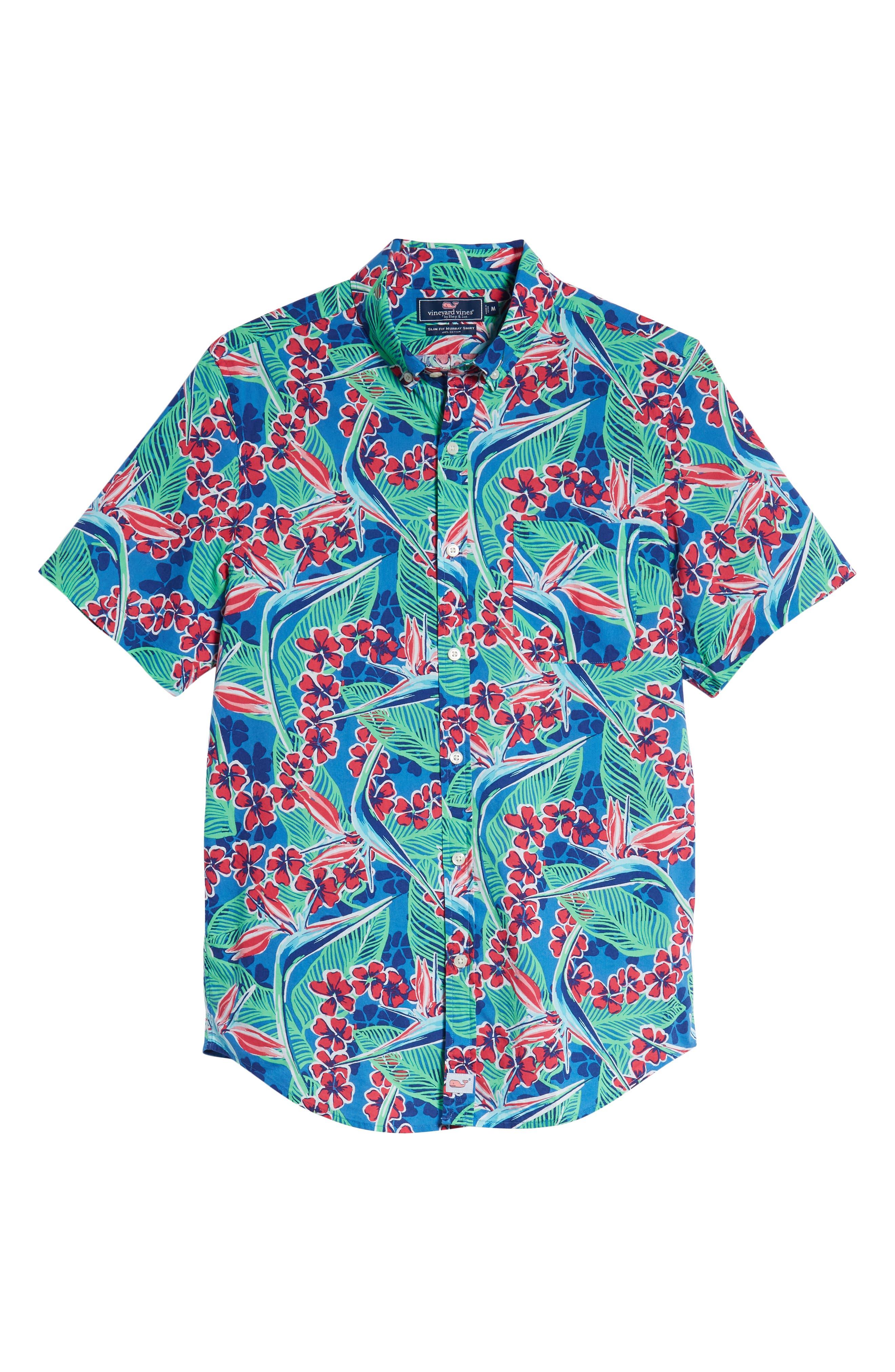 Murray Slim Fit Floral Sport Shirt,                             Alternate thumbnail 5, color,                             400