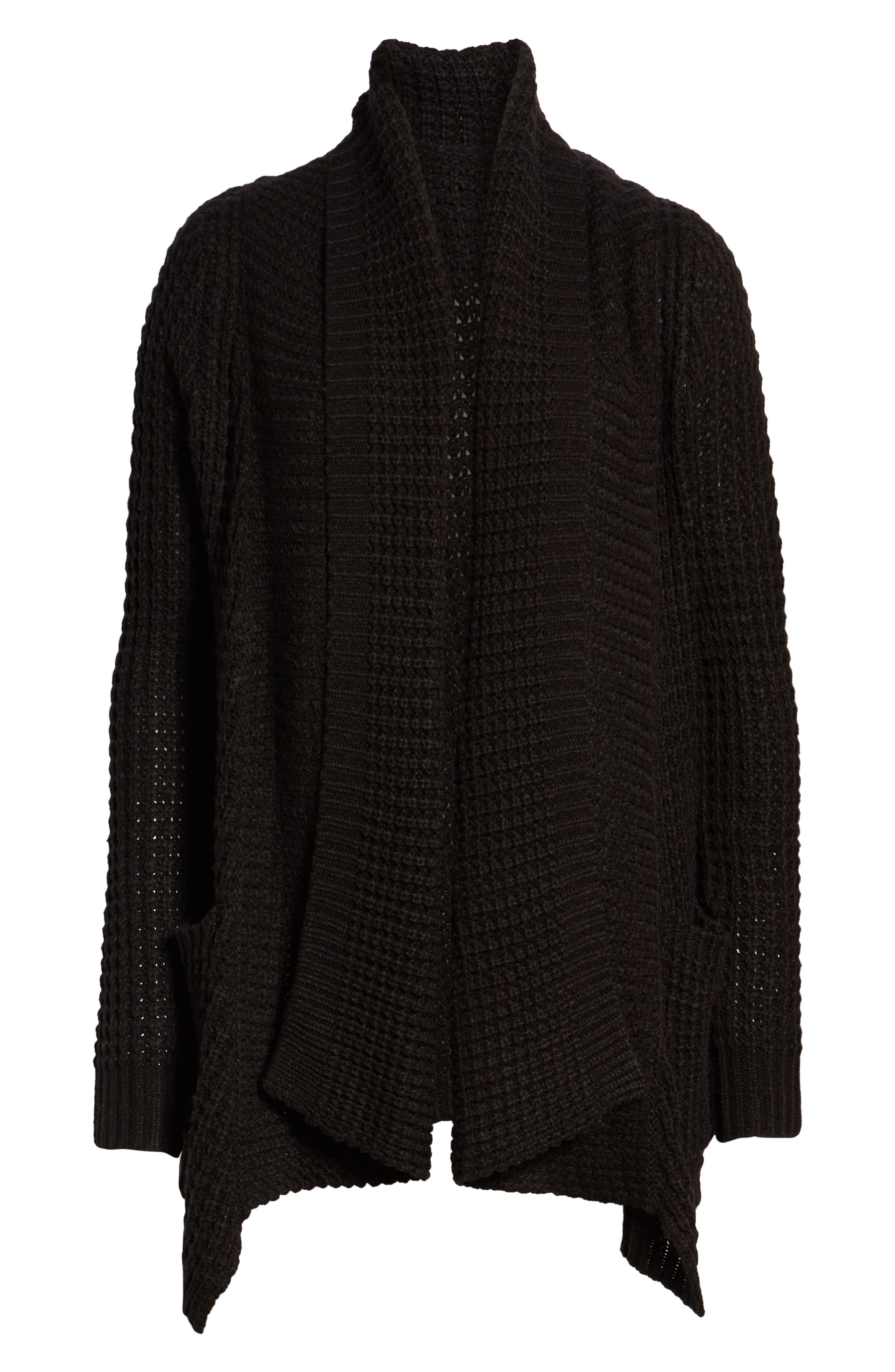 Shambala Knit Cardigan,                             Alternate thumbnail 6, color,                             BLACK