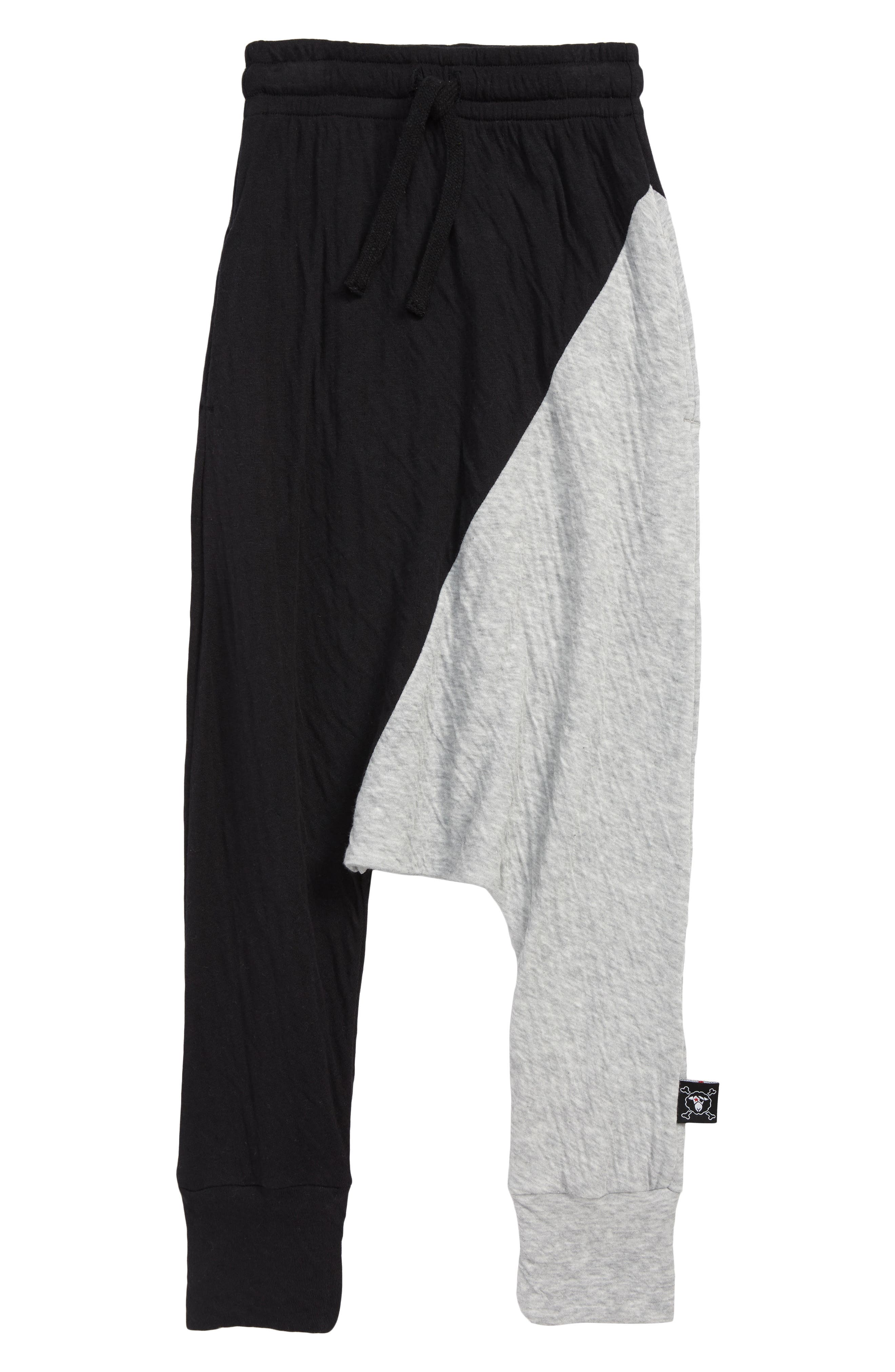 Colorblock Baggy Pants,                         Main,                         color, BLACK/ HEATHER GREY