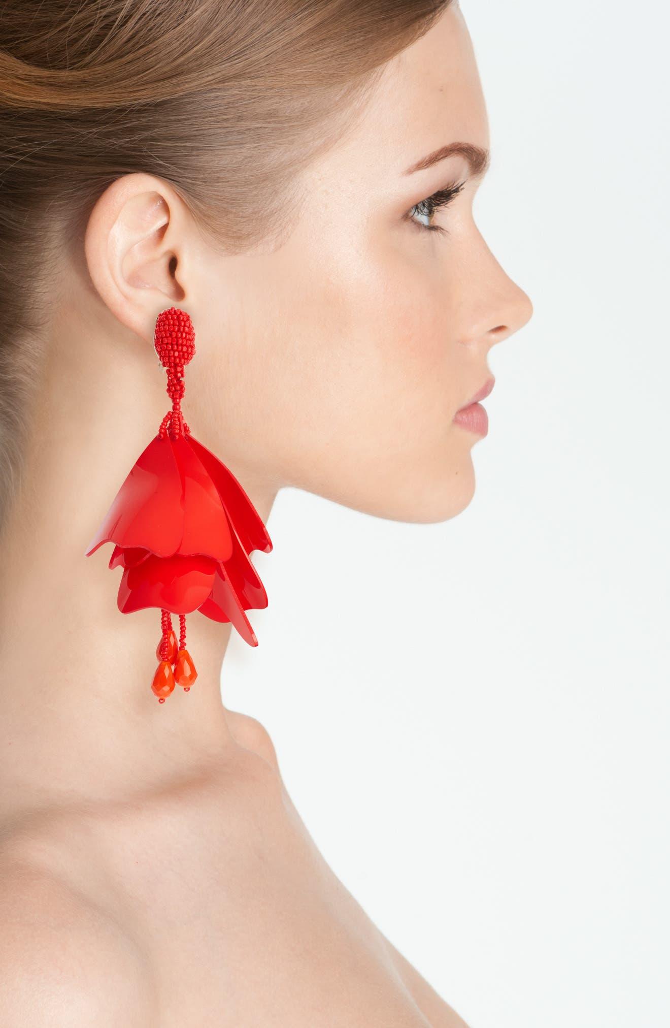 Large Impatiens Flower Clip Earrings,                             Alternate thumbnail 17, color,