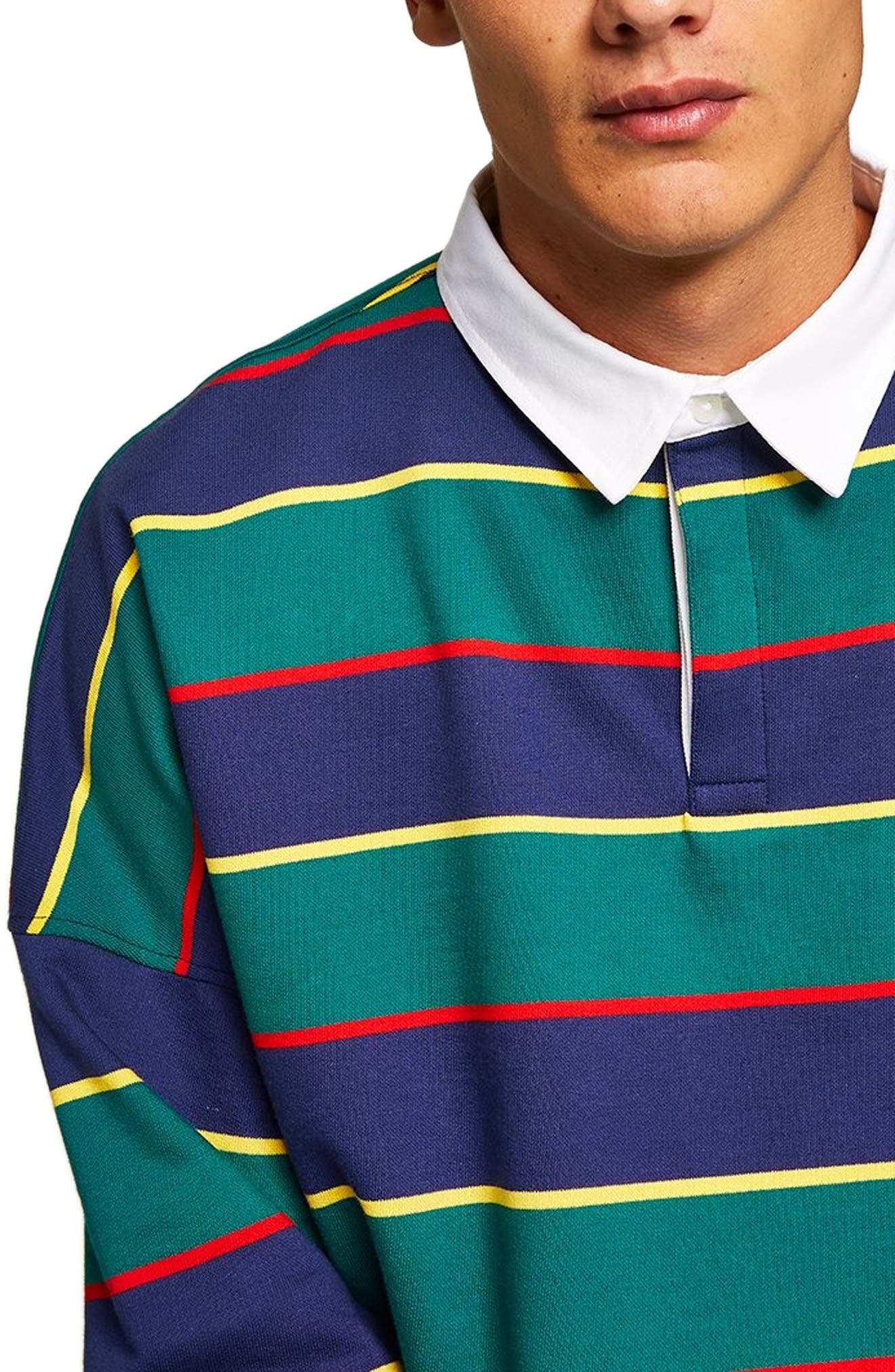 Rugby Stripe Shirt,                             Alternate thumbnail 2, color,                             GREEN MULTI
