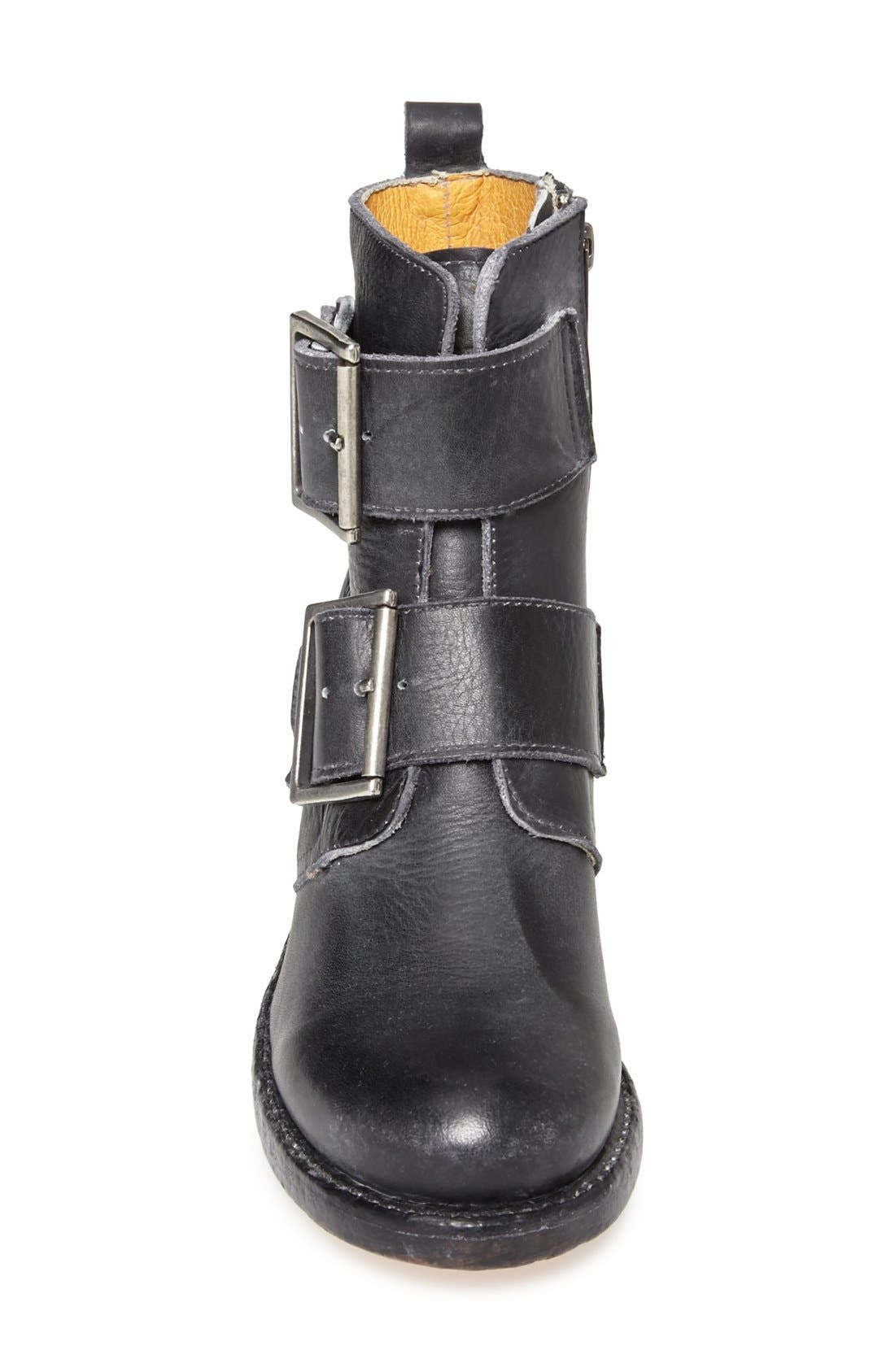 FRYE,                             'Sabrina' Double Buckle Bootie,                             Alternate thumbnail 3, color,                             001