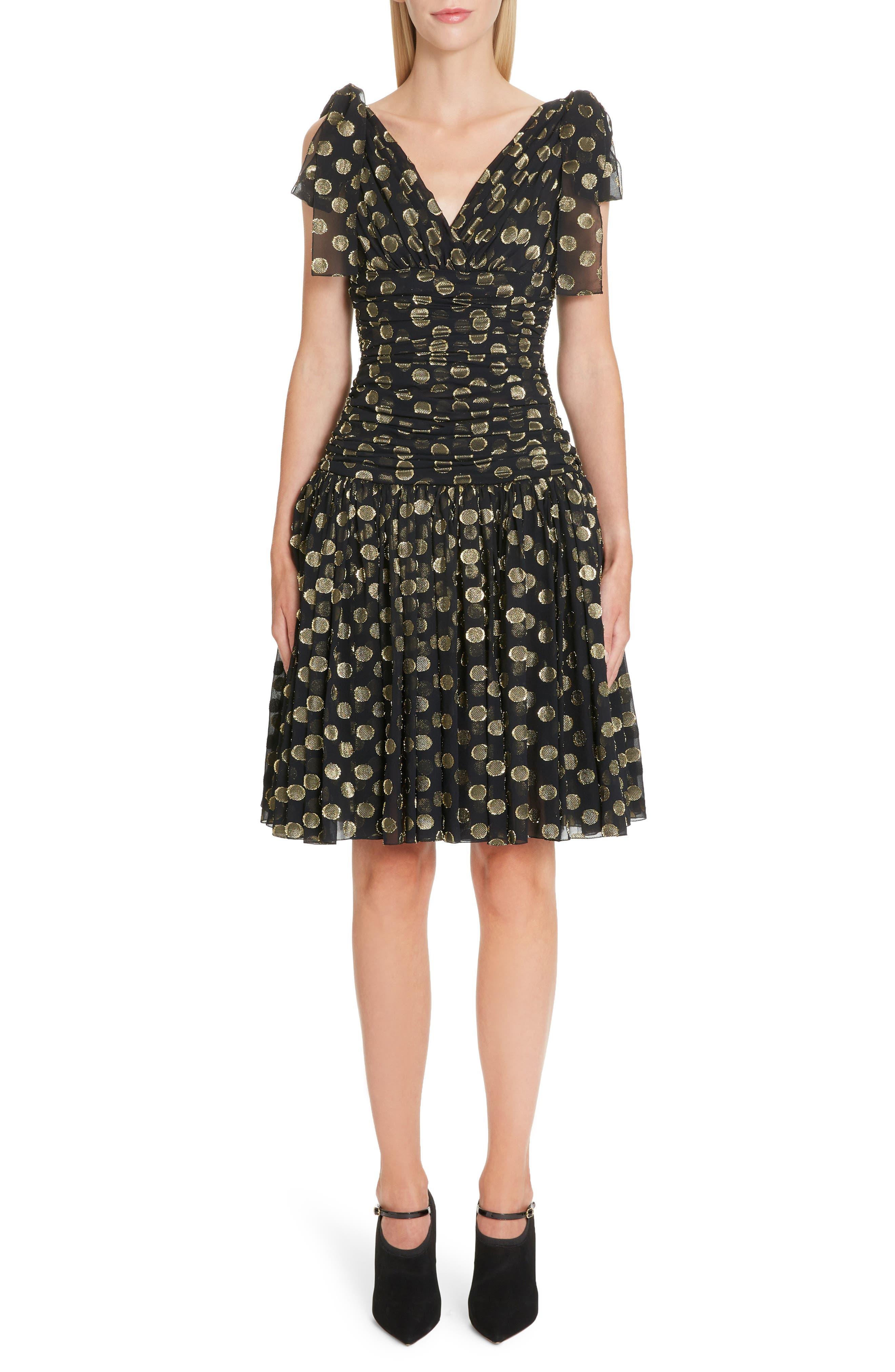 Dolce & gabbana Fil Coupe Chiffon Fit & Flare Dress, US / 42 IT - Black