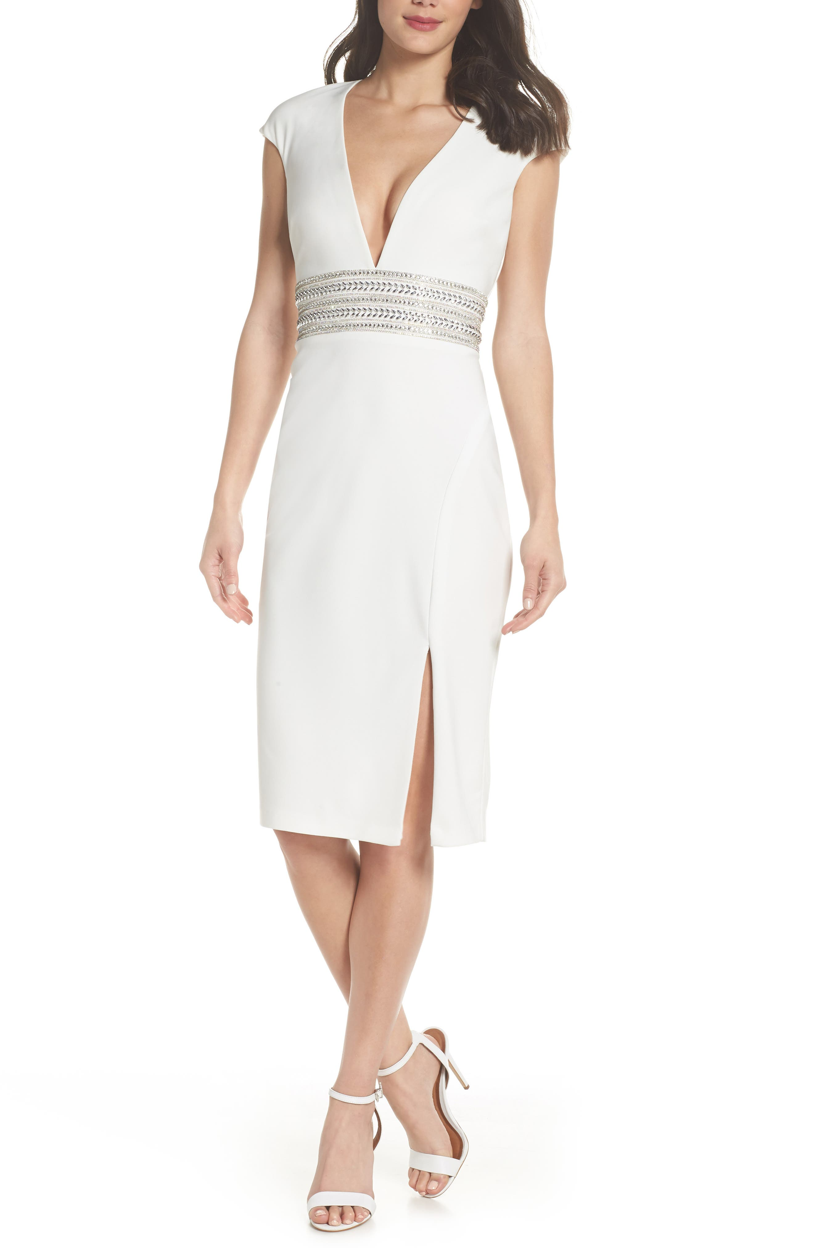 Beaded Waist Open Back Dress,                         Main,                         color, IVORY