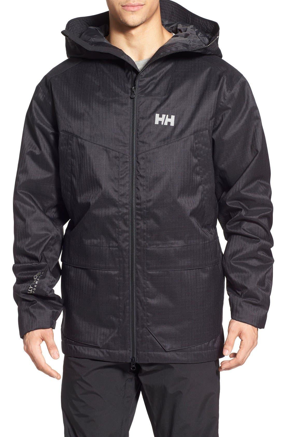 HELLY HANSEN,                             'Denver' Relaxed Fit Herringbone Hooded Jacket,                             Main thumbnail 1, color,                             001
